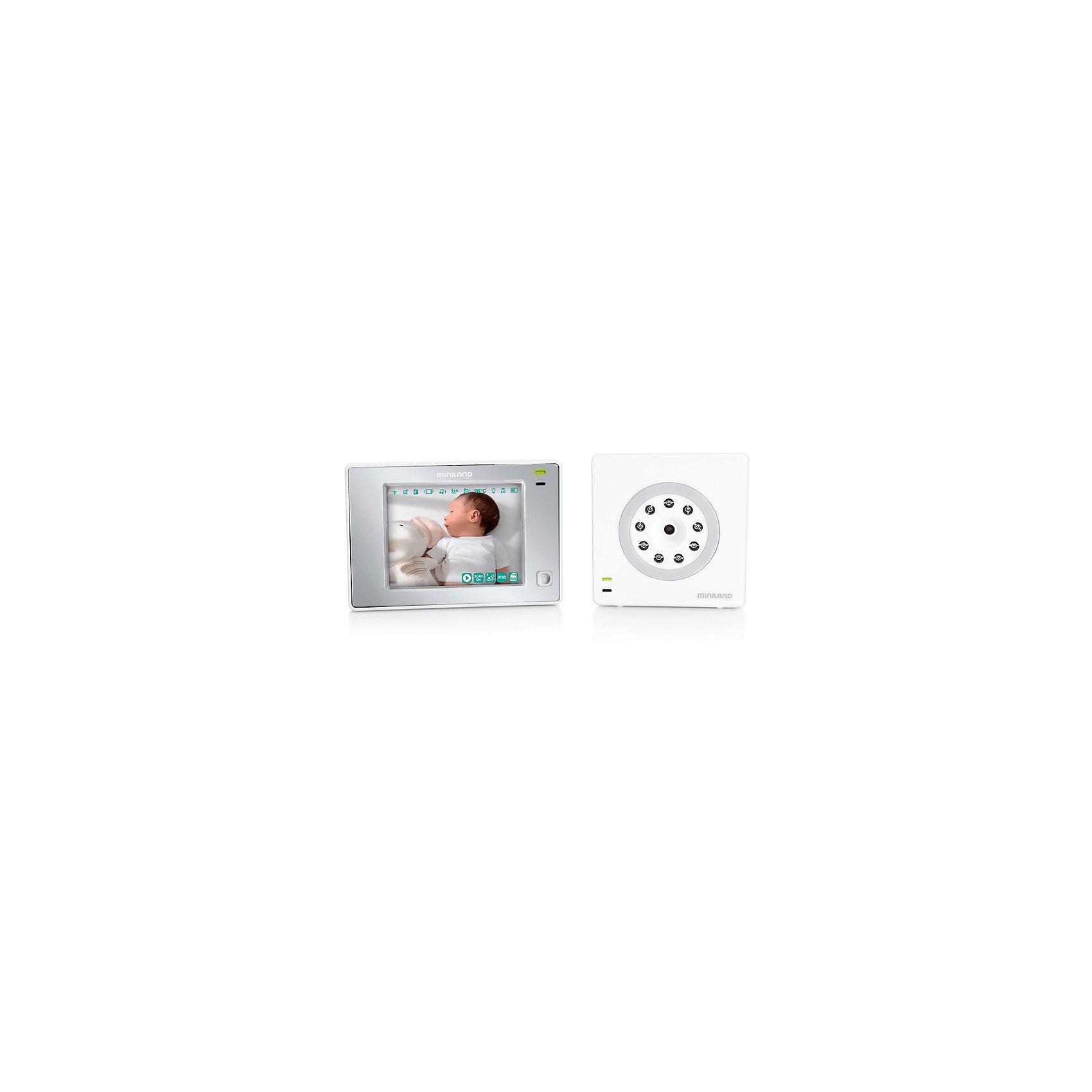 Видеоняня Digimonitor 3,5 Touch New, MinilandДетская бытовая техника<br>Характеристики товара:<br><br>• цветной экран - 3,5 дюйма (8,9 см)<br>• радиус действия - до 300 м<br>• инфракрасная ночная подсветка, позволяющая получать картинку на • расстоянии до 3 метров<br>• подключение до 4 независимых камер<br>• Вкл/Выкл по датчику звука<br>• 3 колыбельных, двусторонняя аудио связь<br>• удаленный мониторинг через ПК, смартфоны и планшеты<br>• AV-выход для подключения к ТВ или монитору<br>• гибкий штатив-тренога для видеокамеры, пульт дистанционного управления<br>• функция вибросигнала (для шумных помещений и для слабослышащих людей)<br>• функция записи видео и фото<br>• технология ECOTECH: технология позволяет снизить потребление электроэнергии<br>• 3- кратный зум для того, чтобы рассмотреть даже самые мелкие детали<br>• датчик температуры с функцией оповещения<br>• двусторонняя связь, можно видеть, слышать и говорить с ребенком<br>• камера с ночным видением и подсветкой<br>• 5 колыбельных мелодий, индикатор громкости и ночник управляются с родительского блока<br>• 8 языков, включая русский<br>• аккумуляторные батарейки    <br><br>Видеоняня Miniland Digimonitor 3,5 Touch - это забота о безопасности малыша, полный контроль за действиями крохи, за счет четкого видеонаблюдения с мягким свечением, как днем, так и в ночное время суток. <br><br>Возможность наблюдать за ребенком из любой точки мира через смартфон, планшет или компьютер и сайт eMyBaby.com, если ребенок остался дома с бабушкой или няней.<br><br>Видеоняня Digimonitor 3,5 Touch (new) можно купить в нашем интернет-магазине.<br><br>Ширина мм: 330<br>Глубина мм: 280<br>Высота мм: 75<br>Вес г: 1000<br>Возраст от месяцев: 4<br>Возраст до месяцев: 36<br>Пол: Унисекс<br>Возраст: Детский<br>SKU: 5589106