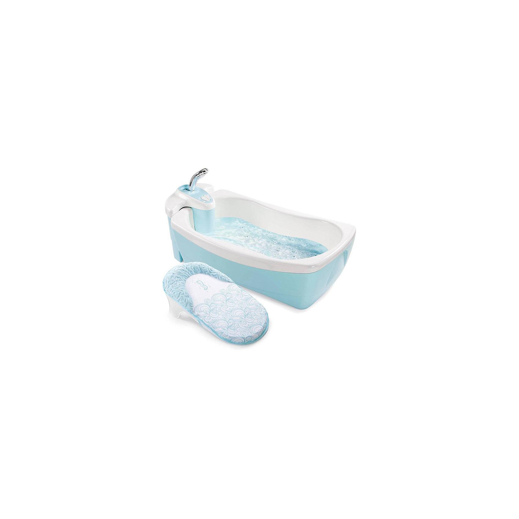 Ванна LilLuxuries, Summer Infant, голубойВанны, горки, сиденья<br>Характеристики товара:<br><br>• возраст: с рождения до 2 лет<br>• цвет: голубой<br>• материал: пластик  <br>• двойные стенки долго поддерживают температуру воды.<br>• эргономичная никелевая душевая ручка<br>• блок с душем отсоединяется<br>• генератор пузырей работает от батареек (в комплект не входят)<br>• габариты: 25х46х73 см<br>• вес: 5,8 кг<br><br>Мягкую вставку-шезлонг можно использовать для новорожденных. <br><br>Встроенный блок с душем обеспечивает мягкое ополаскивание с помощью большой лейки. <br><br>Оснащена специальным моторчиком для создания пузырей и легких вибраций воды. Потоки воздуха создают пузырьки, которые поднимаются со дна, оказывая массажный эффект и доставляя малышу удовольствие. <br><br>Подача воды осуществляется всего одним простым нажатием на кнопку включения / выключения. <br><br>Ванна снабжена дополнительной вставкой-лежаком с подголовником (для новорожденных), подголовник покрыт мягкой тканью для еще большего комфорта малыша.<br><br>Ванну LilLuxuries, Summer Infant, голубой можно кукпить в нашем интернет-магазине.<br><br>Ширина мм: 730<br>Глубина мм: 460<br>Высота мм: 250<br>Вес г: 4600<br>Возраст от месяцев: 0<br>Возраст до месяцев: 24<br>Пол: Унисекс<br>Возраст: Детский<br>SKU: 5589109
