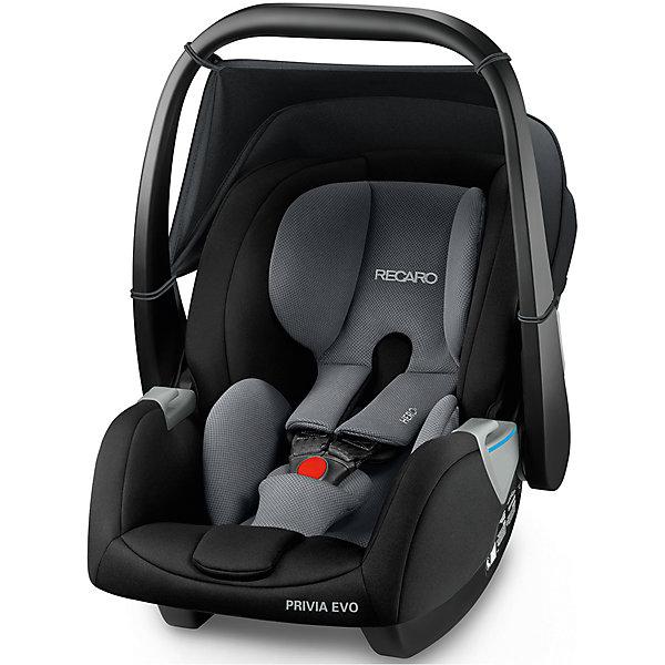 Автокресло Recaro Privia EVO, 0-13 кг., carbon blackГруппа 0+  (до 13 кг)<br>Характеристики:<br><br>• группа: 0-0+;<br>• возраст ребенка: до 13 кг;<br>• вес ребенка: от рождения до 12 месяцев;<br>• способ крепления: база SmartClick с крепление Isofix или штатные ремни безопасности автомобиля;<br>• дополнительная упор-ножка в пол;<br>• обратите внимание: база SmartClick приобретается отдельно;<br>• система Hero: поддержка шейного, плечевого отделов, ремни образуют единый блок;<br>• защита от боковых ударов;<br>• способ установки: против хода движения автомобиля;<br>• тип ремней безопасности: 3-х точечные с защитой от натяжения;<br>• регулируемая ручка для переноски, 3 положения;<br>• съемные чехлы: стирка при температуре 30 градусов;<br>• люлька-качалка: специальные полозья для укачивания малыша;<br>• автокресло устанавливается на шасси колясок Recaro с помощью адаптеров;<br>• материал: пластик, полиэстер;<br>• размер автокресла: 75х47х42 см;<br>• вес автокресла: 4,2 кг;<br>• вес в упаковке: 5,8 кг.<br><br>Комплектация:<br><br>• автокресло;<br>• подушечка для новорожденных;<br>• адаптеры;<br>• инструкция. <br><br>Автокресло Recaro Privia EVO, 0-13 кг, carbon black можно купить в нашем интернет-магазине.<br><br>Ширина мм: 740<br>Глубина мм: 470<br>Высота мм: 420<br>Вес г: 7000<br>Цвет: черный/серый<br>Возраст от месяцев: 0<br>Возраст до месяцев: 18<br>Пол: Унисекс<br>Возраст: Детский<br>SKU: 5589482