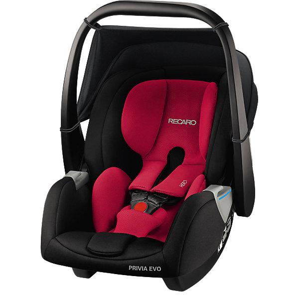 Автокресло Recaro Privia EVO, 0-13 кг., racing redГруппа 0+  (до 13 кг)<br>Характеристики:<br><br>• группа: 0-0+;<br>• возраст ребенка: до 13 кг;<br>• вес ребенка: от рождения до 12 месяцев;<br>• способ крепления: база SmartClick с крепление Isofix или штатные ремни безопасности автомобиля;<br>• дополнительная упор-ножка в пол;<br>• обратите внимание: база SmartClick приобретается отдельно;<br>• система Hero: поддержка шейного, плечевого отделов, ремни образуют единый блок;<br>• защита от боковых ударов;<br>• способ установки: против хода движения автомобиля;<br>• тип ремней безопасности: 3-х точечные с защитой от натяжения;<br>• регулируемая ручка для переноски, 3 положения;<br>• съемные чехлы: стирка при температуре 30 градусов;<br>• люлька-качалка: специальные полозья для укачивания малыша;<br>• автокресло устанавливается на шасси колясок Recaro с помощью адаптеров;<br>• материал: пластик, полиэстер;<br>• размер автокресла: 75х47х42 см;<br>• вес автокресла: 4,2 кг;<br>• вес в упаковке: 5,8 кг.<br><br>Комплектация:<br><br>• автокресло;<br>• подушечка для новорожденных;<br>• адаптеры;<br>• инструкция. <br><br>Автокресло Recaro Privia EVO, 0-13 кг, racing red можно купить в нашем интернет-магазине.<br>Ширина мм: 730; Глубина мм: 470; Высота мм: 410; Вес г: 5760; Цвет: черный/розовый; Возраст от месяцев: 0; Возраст до месяцев: 18; Пол: Унисекс; Возраст: Детский; SKU: 5589484;