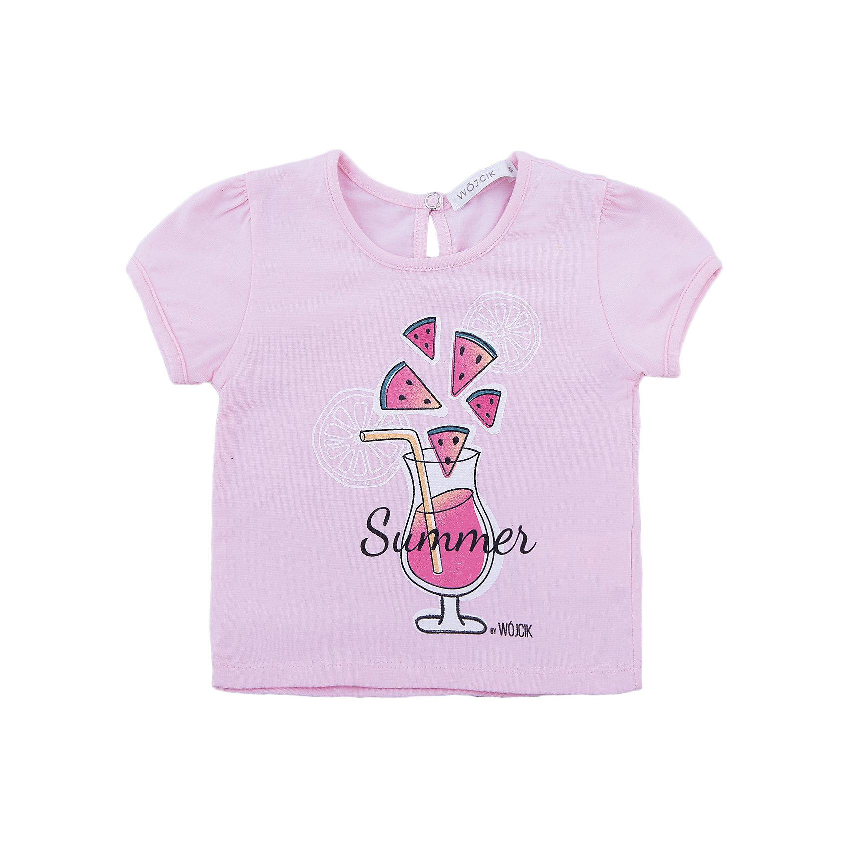 Футболка для девочки WojcikФутболки, топы<br>Характеристики товара:<br><br>• цвет: розовый<br>• состав ткани: хлопок 92%, эластан 8%<br>• короткие рукава<br>• сезон: лето<br>• страна бренда: Польша<br>• страна изготовитель: Польша<br><br>Польская одежда для детей от бренда Войчик - это качественные и стильные вещи. Футболка для девочки для девочки Войчик отличаются модным кроем и универсальным цветом. <br><br>Трикотажная детская футболка сделана из качественного материала с преобладание дышащего натурального хлопка в составе. Розовая футболка для девочки Wojcik - удобная и модная одежда для теплого времени года. <br><br>Футболку для девочки Wojcik (Войчик) можно купить в нашем интернет-магазине.<br><br>Ширина мм: 199<br>Глубина мм: 10<br>Высота мм: 161<br>Вес г: 151<br>Цвет: розовый<br>Возраст от месяцев: 12<br>Возраст до месяцев: 18<br>Пол: Женский<br>Возраст: Детский<br>Размер: 86,92,98,68,74,80<br>SKU: 5589916