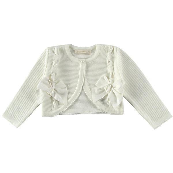 Болеро для девочки WojcikТолстовки, свитера, кардиганы<br>Характеристики товара:<br><br>• цвет: белый<br>• состав ткани: 100% акрил<br>• сезон: демисезон<br>• особенности модели: нарядная<br>• застежка: пуговица<br>• длинные рукава<br>• страна бренда: Польша<br>• страна изготовитель: Польша<br><br>Это болеро для детей сделано из качественного материала. Стильное болеро для девочки Войчик легко надевается. Детское болеро декорировано бантами. Бренд Wojcik - это польская детская одежда отличного качества по доступной цене. <br><br>Болеро для девочки Wojcik (Войчик) можно купить в нашем интернет-магазине.<br><br>Ширина мм: 190<br>Глубина мм: 74<br>Высота мм: 229<br>Вес г: 236<br>Цвет: кремовый<br>Возраст от месяцев: 12<br>Возраст до месяцев: 18<br>Пол: Женский<br>Возраст: Детский<br>Размер: 86,92<br>SKU: 5590107
