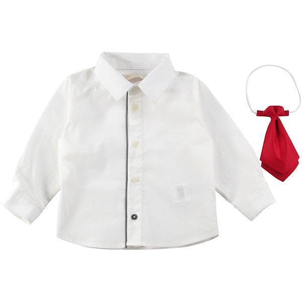 Рубашка для мальчика WojcikБлузки и рубашки<br>Характеристики товара:<br><br>• цвет: белый<br>• комплектация: рубашка, галстук<br>• состав ткани: 85% хлопок, 15% эластан<br>• сезон: демисезон<br>• особенности модели: нарядная<br>• длинные рукава<br>• застежка: пуговицы<br>• страна бренда: Польша<br>• страна изготовитель: Польша<br><br>Белая рубашка с длинным рукавом для мальчика Войчик легко надевается благодаря пуговицам. Хлопковая рубашка для детей сделана из легкого дышащего материала. Бренд Wojcik - это польская детская одежда отличного качества по доступной цене. <br><br>Рубашку для мальчика Wojcik (Войчик) можно купить в нашем интернет-магазине.<br><br>Ширина мм: 174<br>Глубина мм: 10<br>Высота мм: 169<br>Вес г: 157<br>Цвет: серый<br>Возраст от месяцев: 6<br>Возраст до месяцев: 9<br>Пол: Мужской<br>Возраст: Детский<br>Размер: 74,68,98,92,86,80<br>SKU: 5590110