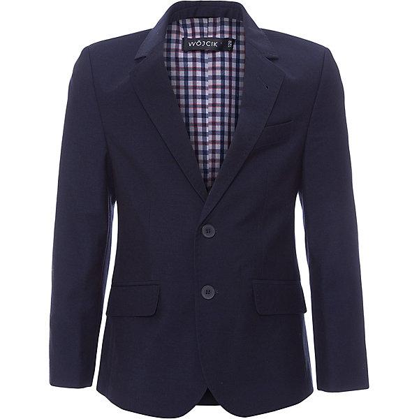 Пиджак для мальчика WojcikКостюмы и пиджаки<br>Характеристики товара:<br><br>• цвет: синий<br>• состав ткани: 85% полиэстер, 15% вискоза<br>• сезон: демисезон<br>• особенности модели: школьная, нарядная<br>• длинные рукава<br>• застежка: пуговицы<br>• страна бренда: Польша<br>• страна изготовитель: Польша<br><br>Классический пиджак для мальчика от бренда Войчик легко надевается благодаря пуговицам. Этот пиджак для детей сделан из качественного материала. Популярный бренд Wojcik - это польская детская одежда отличного качества по доступной цене. <br><br>Пиджак для мальчика Wojcik (Войчик) можно купить в нашем интернет-магазине.<br><br>Ширина мм: 356<br>Глубина мм: 10<br>Высота мм: 245<br>Вес г: 519<br>Цвет: темно-синий<br>Возраст от месяцев: 96<br>Возраст до месяцев: 108<br>Пол: Мужской<br>Возраст: Детский<br>Размер: 134,128,122,152,146<br>SKU: 5590506