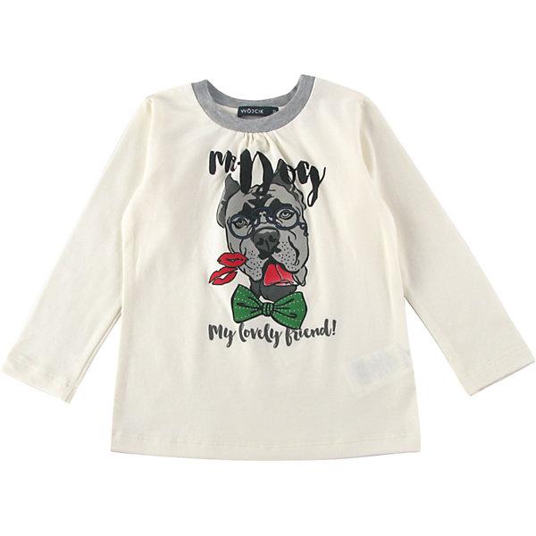 Футболка с длинным рукавом для девочки WojcikФутболки с длинным рукавом<br>Характеристики товара:<br><br>• цвет: белый<br>• состав ткани: 92% хлопок, 8% эластан<br>• сезон: демисезон<br>• длинные рукава<br>• страна бренда: Польша<br>• страна изготовитель: Польша<br><br>Комфортный лонгслив для детей сделан из дышащего мягкого материала. Модная футболка с длинным рукавом для девочки Войчик легко надевается. Детский лонгслив декорирован принтом. Товары от бренда Wojcik - это польская детская одежда отличного качества по доступной цене. <br><br>Лонгслив для девочки Wojcik (Войчик) можно купить в нашем интернет-магазине.<br><br>Ширина мм: 230<br>Глубина мм: 40<br>Высота мм: 220<br>Вес г: 250<br>Цвет: кремовый<br>Возраст от месяцев: 24<br>Возраст до месяцев: 36<br>Пол: Женский<br>Возраст: Детский<br>Размер: 98,134,110<br>SKU: 5591561