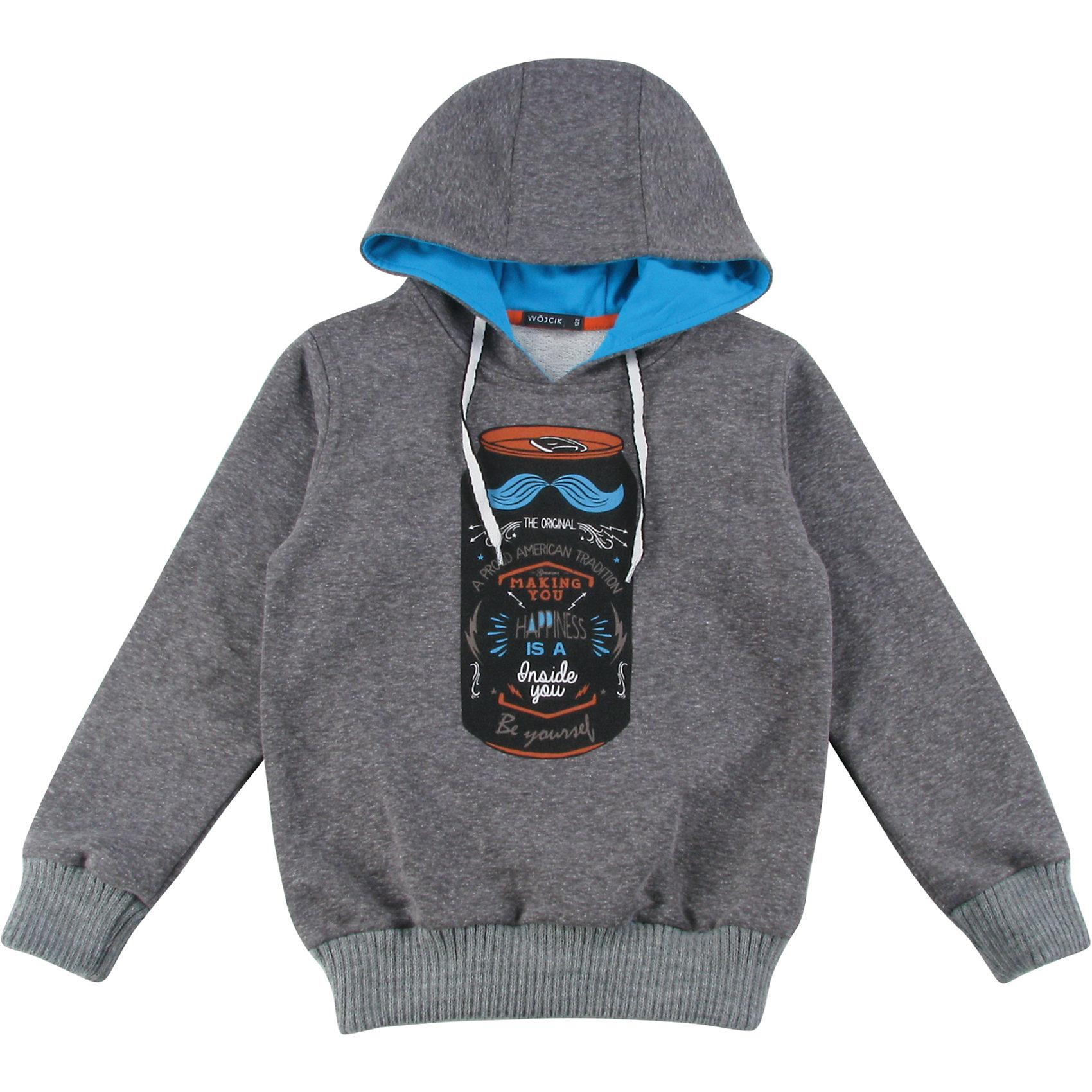 Толстовка для мальчика WojcikТолстовки, свитера, кардиганы<br>Толстовка для мальчика Wojcik<br>Состав:<br>Хлопок 97% Эластан 3%<br><br>Ширина мм: 190<br>Глубина мм: 74<br>Высота мм: 229<br>Вес г: 236<br>Цвет: серый<br>Возраст от месяцев: 96<br>Возраст до месяцев: 108<br>Пол: Мужской<br>Возраст: Детский<br>Размер: 134,92,98,104,110,116,122,128<br>SKU: 5592094