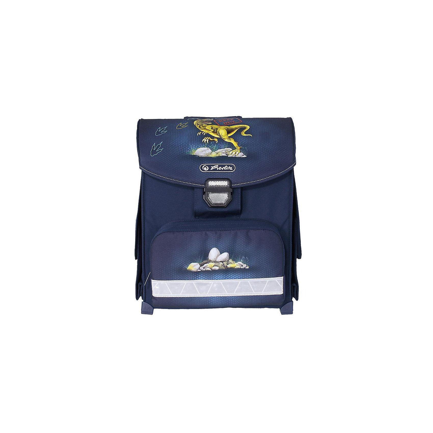 Ранец Herlitz SMART Dino, без наполненияРанцы<br>Ранец SMART Dino<br>Описание: размер 38х30х21см <br>-полиэстер<br>- замок-защелка легко открывается и закрывается благодаря специальному клапану,<br>- 2 внутренних отделения<br>- расписание уроков под крышкой ранца<br>- передний наружный карман на  «молнии»<br>- водоотталкивающая ткань<br>- светоотражатели 3M на переднем кармане, боковых карманах и лямках<br>- прочные пластиковые ножки, защищающие дно от загрязнения<br>- 2 боковых раскладывающихся кармана на «липучке»<br>- эргономичная спинка и уплотненные регулируемые лямки из вентилируемого материала.<br>лямки настраиваются  под  рост  ребенка                                                                     -вмещает А4                                                                                                         -вес 850г                                                                                                            объем 13л<br><br>Ширина мм: 300<br>Глубина мм: 380<br>Высота мм: 210<br>Вес г: 950<br>Возраст от месяцев: 72<br>Возраст до месяцев: 120<br>Пол: Мужской<br>Возраст: Детский<br>SKU: 5595050