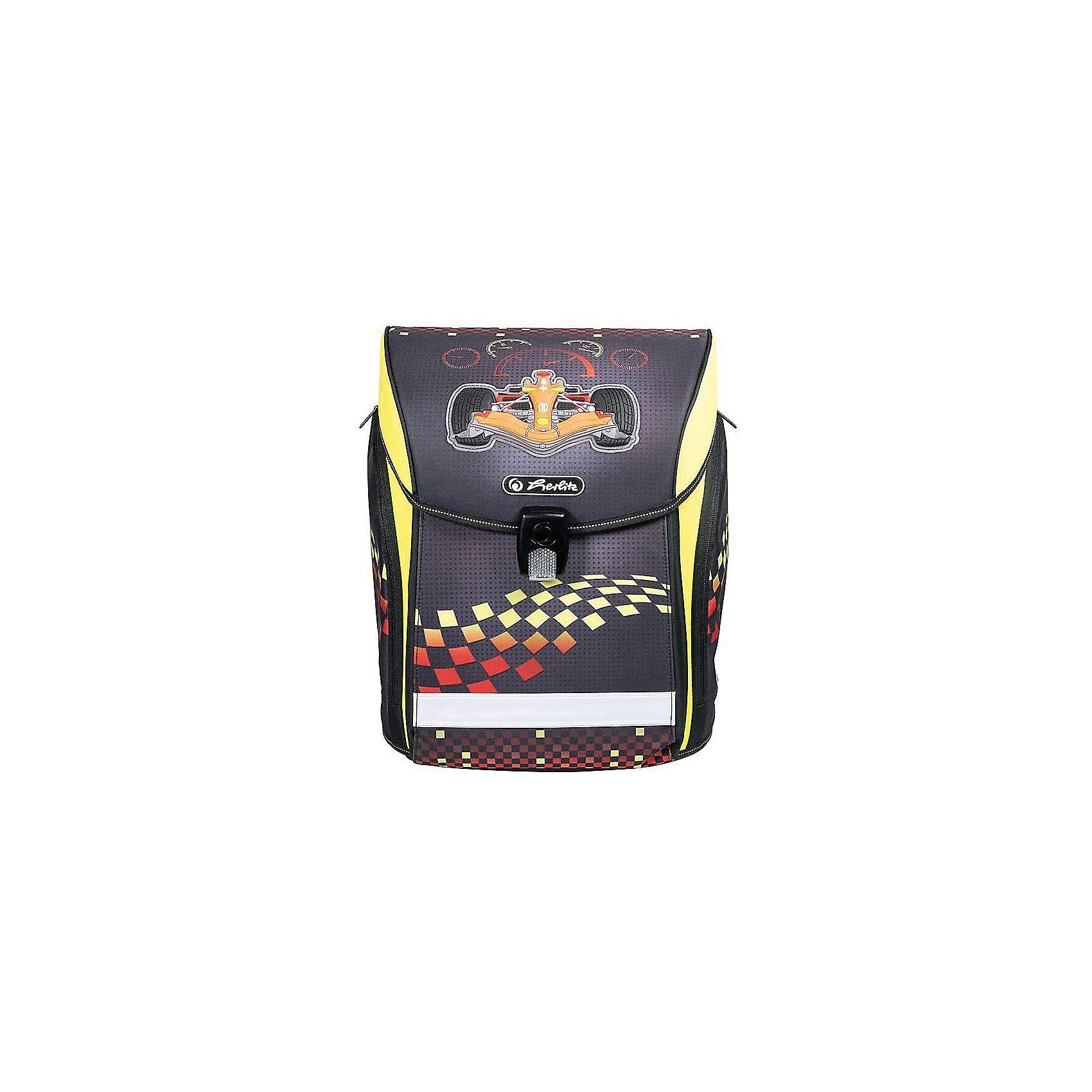 Herlitz Ранец MIDI NEW Formula 1, без наполненияРанцы<br>Ранец NEW MIDI Formula 1 без наполнения<br>- полиэстер<br>размер 38х32х26см <br>- Новый магнитный замок Fidlock;<br>- 2 внутренних отделения с карманом для учебников,<br>- 1 внутренний карман на молнии,<br>- расписание уроков,<br>- дно из жесткого пластика,<br>- Удобный, интегрированный передний карман в корпус ранца.<br>- водоотталкивающая ткань,<br>- светоотражатели 3M на переднем кармане, боковых карманах и лямках, на крышке ранца светоотражающий кант<br>- 2 просторных боковых кармана на молнии,<br>- эргономичная спинка и уплотненные регулируемые лямки из вентилируемого материала, <br>вес около 1000 гр<br><br>Ширина мм: 370<br>Глубина мм: 380<br>Высота мм: 220<br>Вес г: 1100<br>Возраст от месяцев: 72<br>Возраст до месяцев: 120<br>Пол: Мужской<br>Возраст: Детский<br>SKU: 5595067