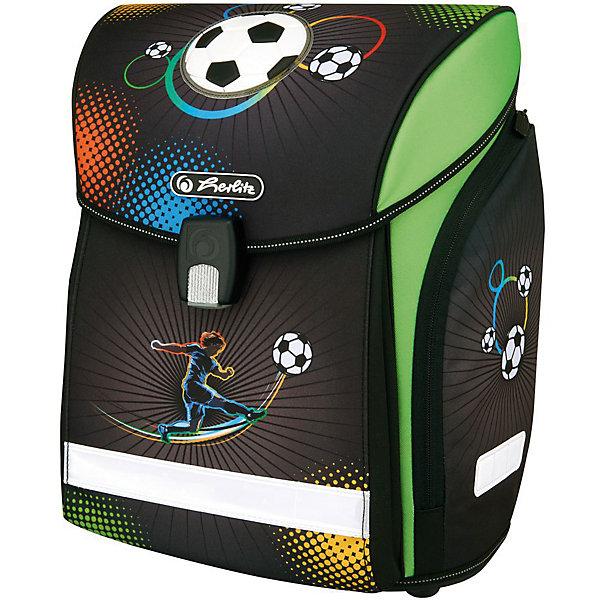 Ранец HerlitzMIDI NEW Soccer, без наполненияРанцы<br>Ранец NEW MIDI Soccer без наполнения<br>- полиэстер<br>размер 38х32х26см <br>- Новый магнитный замок Fidlock;<br>- 2 внутренних отделения с карманом для учебников,<br>- 1 внутренний карман на молнии,<br>- расписание уроков,<br>- дно из жесткого пластика,<br>- Удобный, интегрированный передний карман в корпус ранца.<br>- водоотталкивающая ткань,<br>- светоотражатели 3M на переднем кармане, боковых карманах и лямках, на крышке ранца светоотражающий кант<br>- 2 просторных боковых кармана на молнии,<br>- эргономичная спинка и уплотненные регулируемые лямки из вентилируемого материала, <br>вес 850  гр                                                                                                 вмещает А4                                                                                                  лямки настраиваются  под  рост  ребенка<br>Ширина мм: 370; Глубина мм: 380; Высота мм: 220; Вес г: 1100; Возраст от месяцев: 72; Возраст до месяцев: 120; Пол: Мужской; Возраст: Детский; SKU: 5595068;