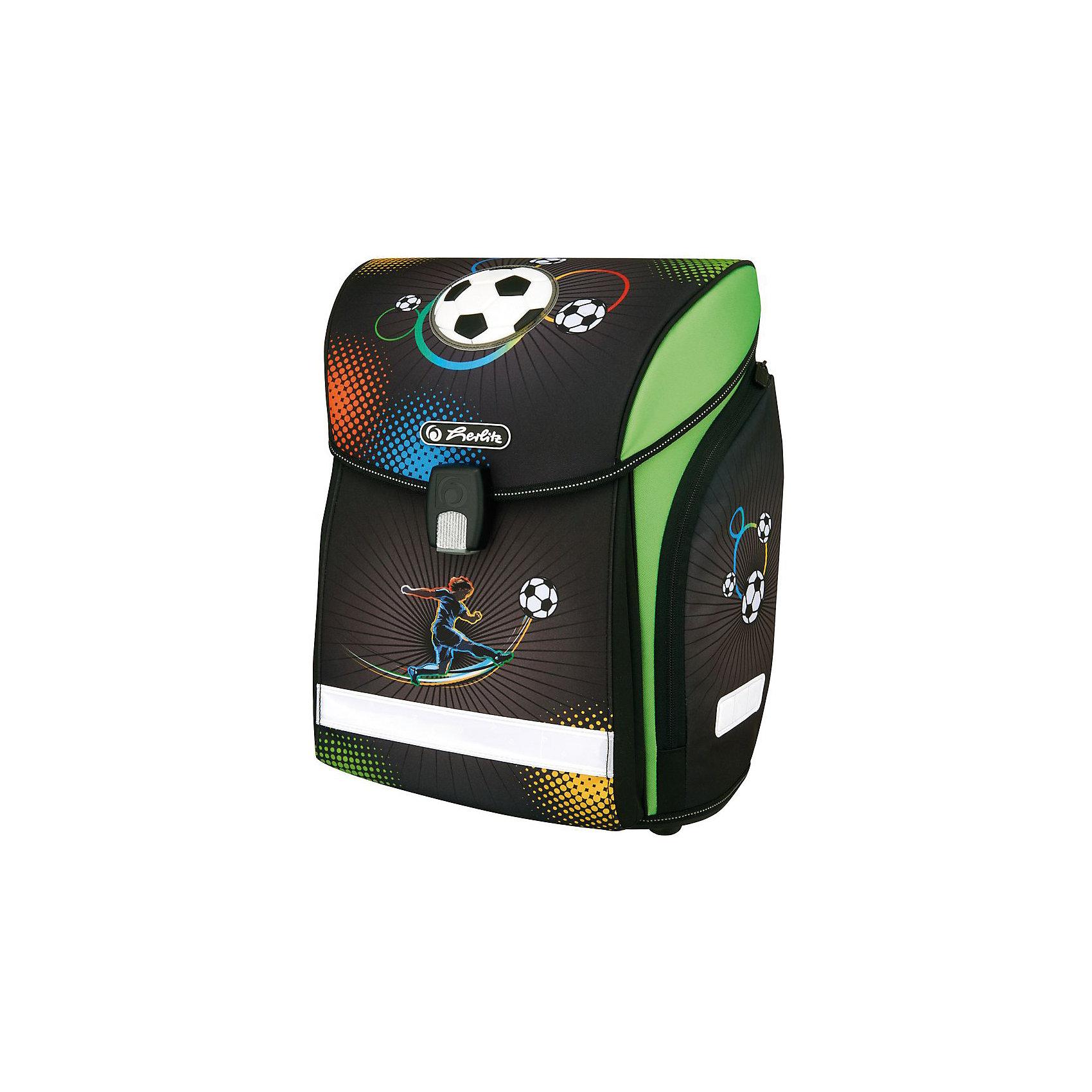 Herlitz Ранец MIDI NEW Soccer, без наполненияРанцы<br>Ранец NEW MIDI Soccer без наполнения<br>- полиэстер<br>размер 38х32х26см <br>- Новый магнитный замок Fidlock;<br>- 2 внутренних отделения с карманом для учебников,<br>- 1 внутренний карман на молнии,<br>- расписание уроков,<br>- дно из жесткого пластика,<br>- Удобный, интегрированный передний карман в корпус ранца.<br>- водоотталкивающая ткань,<br>- светоотражатели 3M на переднем кармане, боковых карманах и лямках, на крышке ранца светоотражающий кант<br>- 2 просторных боковых кармана на молнии,<br>- эргономичная спинка и уплотненные регулируемые лямки из вентилируемого материала, <br>вес 850  гр                                                                                                 вмещает А4                                                                                                  лямки настраиваются  под  рост  ребенка<br><br>Ширина мм: 370<br>Глубина мм: 380<br>Высота мм: 220<br>Вес г: 1100<br>Возраст от месяцев: 72<br>Возраст до месяцев: 120<br>Пол: Мужской<br>Возраст: Детский<br>SKU: 5595068