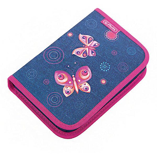 Herlitz Пенал с наполнением 31 предмет, Butterfly DreamsПеналы с наполнением<br>Пенал с наполнением  Butterfly Dreams<br>31 предмет<br>Описание:<br>- 20,5х14х3,5<br>- 1 отделение, 2 откидные створки<br>- прочный кант, жесткая обложка<br>Наполнение:<br>- 1 шариковая ручка,<br>- 2 чернографитных карандаша,<br>- 8 цветных карандашей, 14 фломастеров<br>- линейка и угольник, ластик и точилка,<br>- расписание уроков на русском языке,<br>- личные данные ученика<br>Ширина мм: 140; Глубина мм: 205; Высота мм: 35; Вес г: 326; Возраст от месяцев: 72; Возраст до месяцев: 120; Пол: Женский; Возраст: Детский; SKU: 5595074;