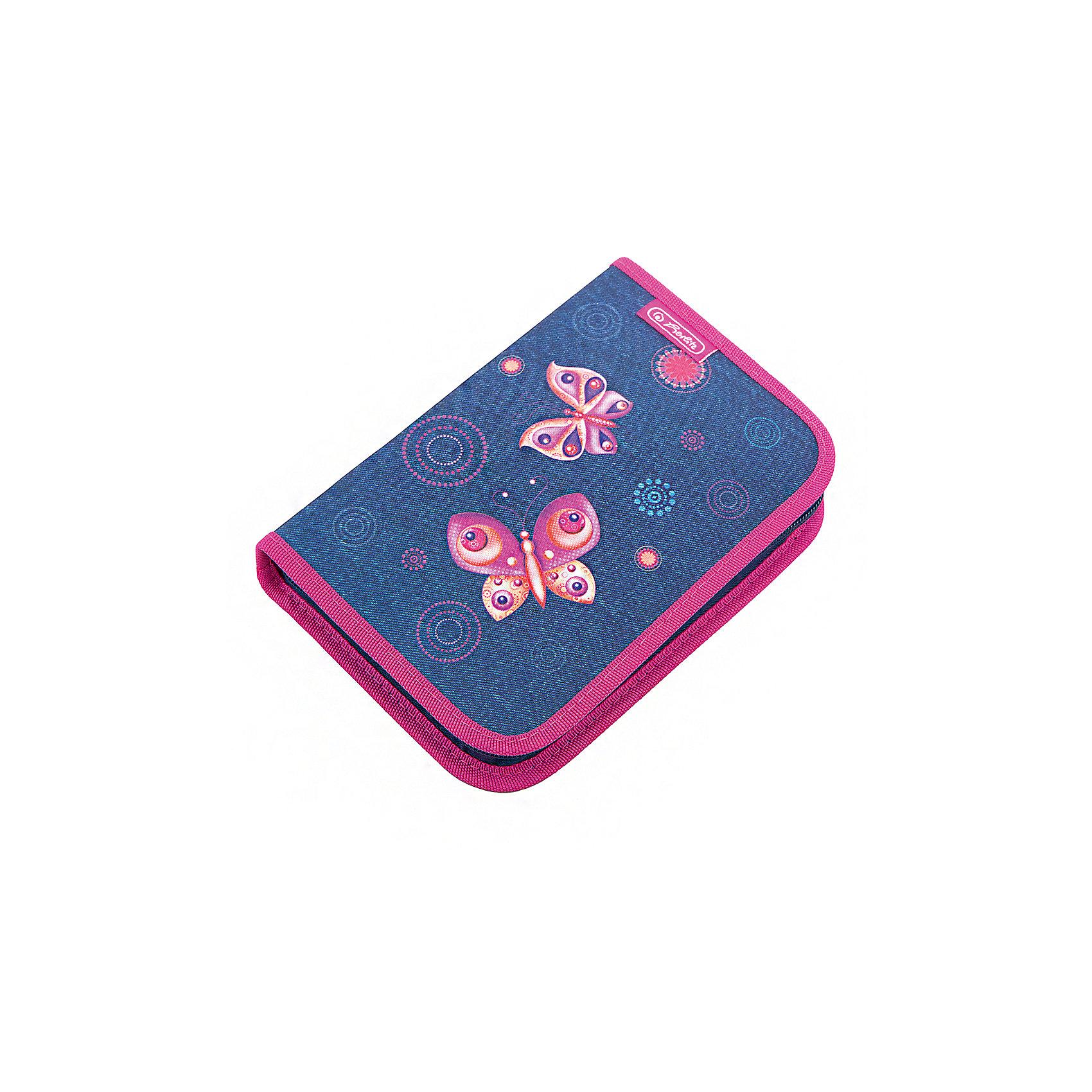 Herlitz Пенал с наполнением 31 предмет, Butterfly DreamsПеналы с наполнением<br>Пенал с наполнением  Butterfly Dreams<br>31 предмет<br>Описание:<br>- 20,5х14х3,5<br>- 1 отделение, 2 откидные створки<br>- прочный кант, жесткая обложка<br>Наполнение:<br>- 1 шариковая ручка,<br>- 2 чернографитных карандаша,<br>- 8 цветных карандашей, 14 фломастеров<br>- линейка и угольник, ластик и точилка,<br>- расписание уроков на русском языке,<br>- личные данные ученика<br><br>Ширина мм: 140<br>Глубина мм: 205<br>Высота мм: 35<br>Вес г: 326<br>Возраст от месяцев: 72<br>Возраст до месяцев: 120<br>Пол: Женский<br>Возраст: Детский<br>SKU: 5595074