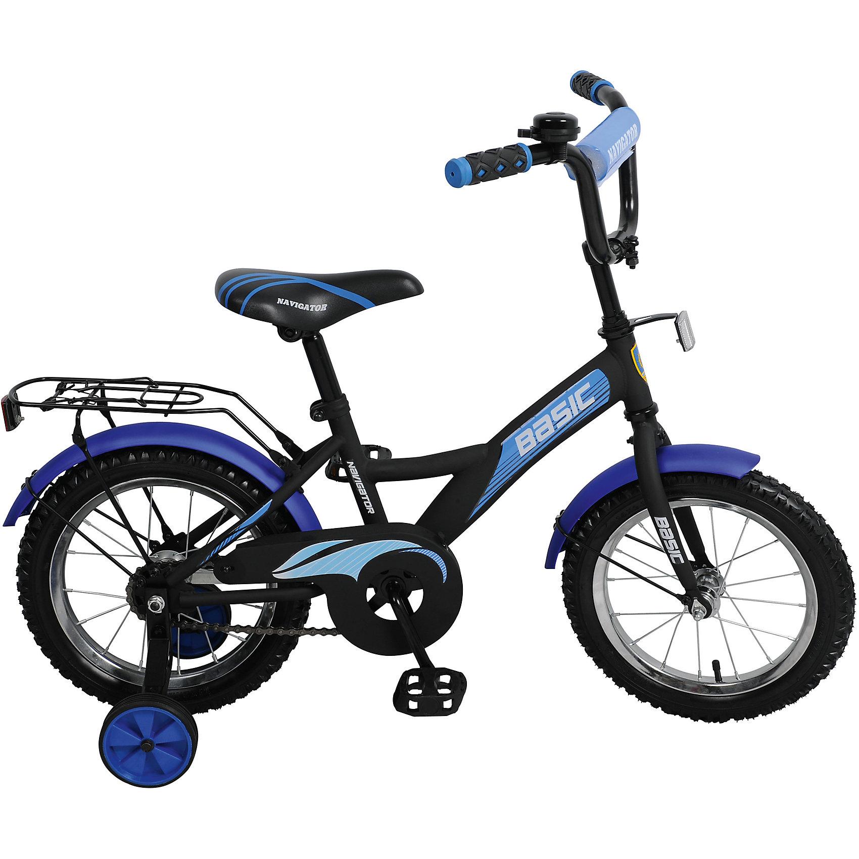 Двухколесный велосипед Basic 14, черно-синий, NavigatorВелосипеды детские<br>Характеристики товара:<br><br>• возраст: от 2.5 до 4 лет<br>• цвет: синий.<br>• комплект: багажник, защита цепи, мягкая защита руля, боковые колеса, звонок<br>• материал: металл<br>• размер велосипеда в собранном виде: 80х36х17 см<br>• вес: 9 кг<br>• колеса: резина.<br>• рост ребенка: 100-120 см<br>• размер колес: 14 дюймов<br>• рама: сталь<br>• страна бренда: Россия<br><br>Двухколесный велосипед Basic 14, черно-синий, Navigator оснащен дополнительными боковыми колесами, которые помогут ребенку почувствовать себя увереннее в период обучения езде, а после их можно будет снять. <br><br>Такой велосипед идеально подойдет для тех детей, которые впервые пробуют кататься именно на двухколесном транспортном средстве. <br><br>Высота руля и сиденья регулируется - это позволяет сделать его максимально удобным для индивидуального использования.<br><br>Двухколесный велосипед Basic 14, черно-синий, Navigator можно купить в нашем интернет-магазине.<br><br>Ширина мм: 140<br>Глубина мм: 205<br>Высота мм: 35<br>Вес г: 326<br>Возраст от месяцев: 36<br>Возраст до месяцев: 2147483647<br>Пол: Унисекс<br>Возраст: Детский<br>SKU: 5595088