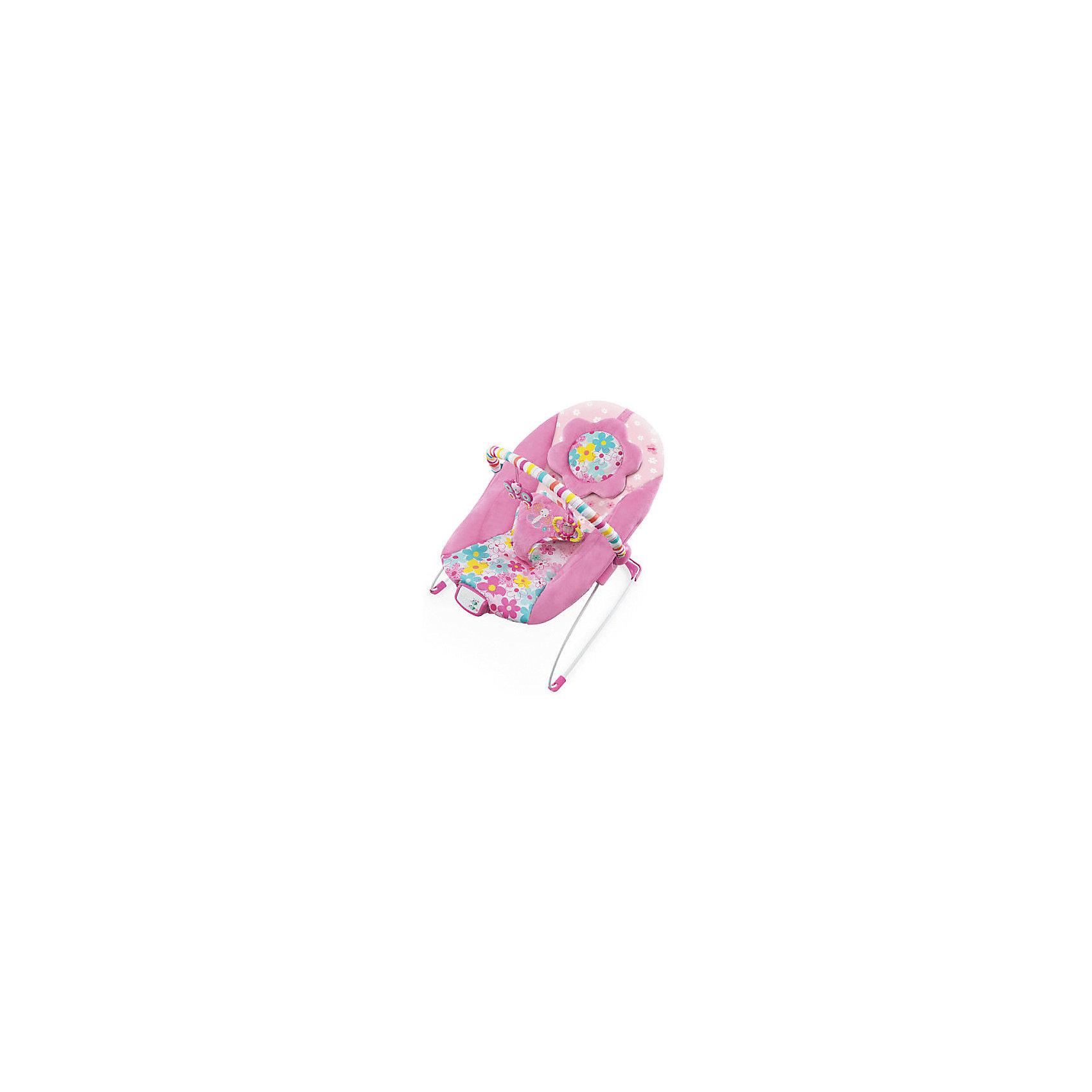 Кресло-качалка «Цветочная поляна», Bright StartsКресла-качалки<br>Маленькой принцессе понравятся мягкие ткани, комфортное укачивание и забавные игрушки!<br>Удобное сиденье колыбельного типа с мягкой подушкой для ног и съемным подголовником<br>7 мелодий, успокаивающая вибрация и автоматическое отключение через 15 минут<br>Перекладина с игрушками легко убирается для быстрого доступа к ребенку<br>2 яркие игрушки: бабочка и кольцо с гремящим цилиндром<br><br>Ширина мм: 560<br>Глубина мм: 130<br>Высота мм: 130<br>Вес г: 2200<br>Возраст от месяцев: 0<br>Возраст до месяцев: 6<br>Пол: Унисекс<br>Возраст: Детский<br>SKU: 5596838