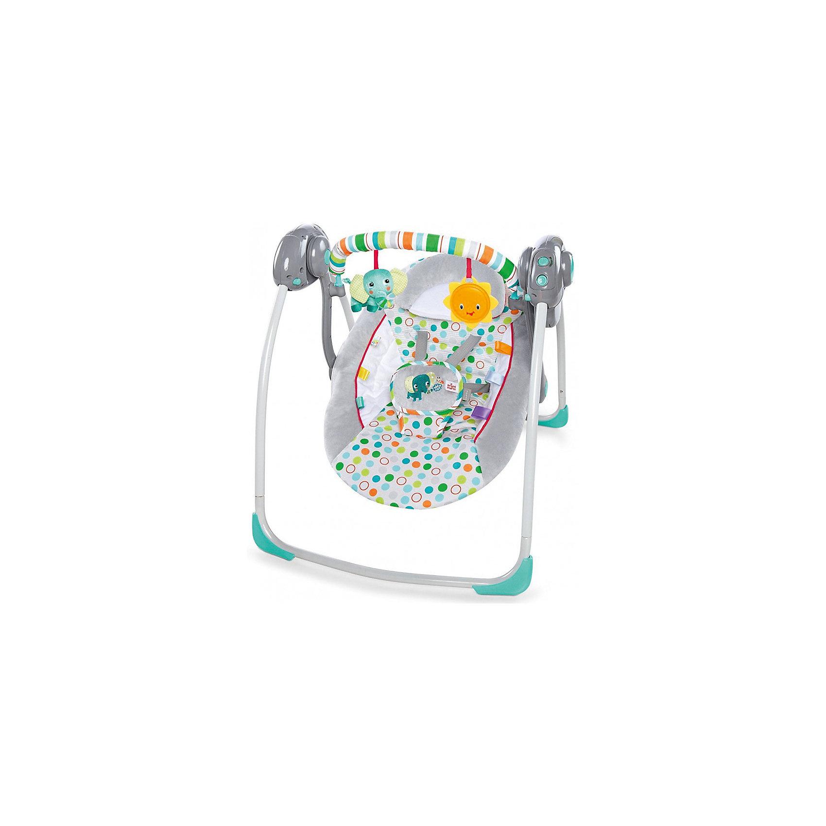 Качели «Солнечные джунгли», Bright StartsКачели электронные<br>Технология True Speed обеспечивает выбор 6 скоростей по мере роста малыша <br>Бесшумное раскачивание благодаря технологии Whisper Quiet <br> Мягкую перекладину с игрушками можно поворачивать для быстрого доступа к малышу <br>2 игрушки: слонёнок и солнышко <br>Дополнительные характеристики<br>• Размеры товара: 57.15 cм x 72.39 cм x 58.42 cм<br><br>Ширина мм: 560<br>Глубина мм: 130<br>Высота мм: 130<br>Вес г: 3200<br>Возраст от месяцев: 0<br>Возраст до месяцев: 6<br>Пол: Унисекс<br>Возраст: Детский<br>SKU: 5596839