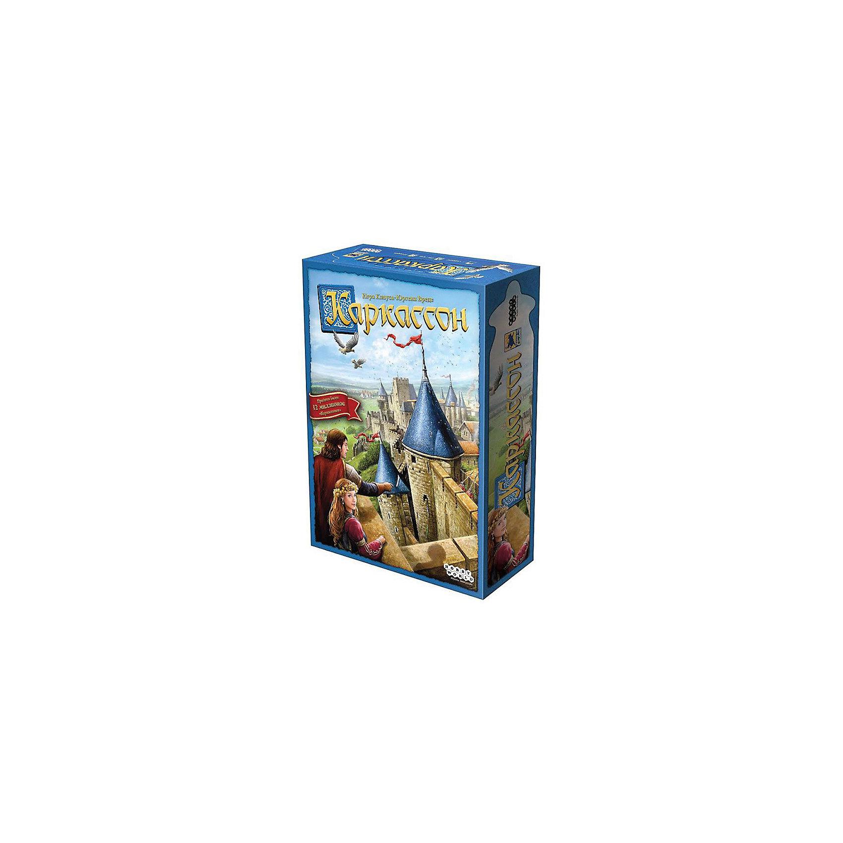 Игра Каркассон, Hobby WorldНастольные игры<br>Характеристики товара:<br><br>• возраст: от 8 лет;<br>• материал: картон;<br>• количество игроков: 2-5 человек;<br>• время игры: 30-60 минут;<br>• в комплекте: 135 карт, 4 дорожки подсчета очков, 10 фишек подданных, 5 сундуков, 5 жетонов, правила игры;<br>• размер упаковки 27,7х19,4х6,4 см;<br>• вес упаковки 635 гр.;<br>• страна производитель: Россия.<br><br>Игра «Каркассон» Hobby World позволит увлекательно провести время в компании. В процессе игры игроки выстраивают свои владения, используя карты с дорогами, замками и т.д. Карточки устанавливаются так, чтобы изображение на ней совпадало с границей предыдущей карты. Подданные помогают расширить владения. За подданных начисляются очки. В конце игры надо набрать как можно больше баллов.<br><br>Игру «Каркассон» Hobby World можно приобрести в нашем интернет-магазине.<br><br>Ширина мм: 277<br>Глубина мм: 194<br>Высота мм: 64<br>Вес г: 635<br>Возраст от месяцев: 96<br>Возраст до месяцев: 2147483647<br>Пол: Унисекс<br>Возраст: Детский<br>SKU: 5597223