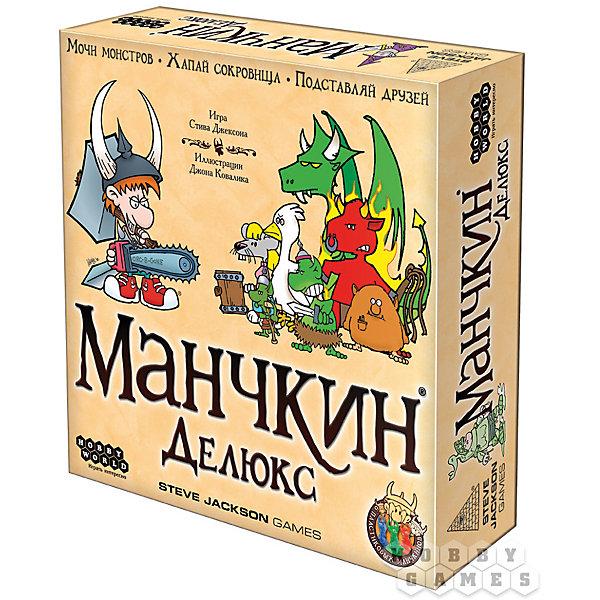 Игра настольная Манчкин Делюкс,  Hobby WorldТоп игр<br>Характеристики товара:<br><br>• возраст: от 12 лет;<br>• материал: картон, пластик;<br>• количество игроков: 3-6 человек;<br>• время игры: 30 минут;<br>• в комплекте: игровое поле, 95 карт дверей, 73 карты сокровищ, 6 карт игроков, 6 фишек, кубик, правила игры;<br>• размер упаковки 25,3х25,3х6,3 см;<br>• вес упаковки 800 гр.;<br>• страна производитель: Россия.<br><br>Игра настольная «Манчкин Делюкс» Hobby World позволит увлекательно провести время в компании друзей. Каждый игрок в игре управляет своим манчкином и должен довести его до 10 уровня. Игра состоит из отдельных ходов каждого игрока, а в каждом ходе несколько фаз.<br><br>Игру настольную «Манчкин Делюкс» Hobby World можно приобрести в нашем интернет-магазине.<br>Ширина мм: 253; Глубина мм: 253; Высота мм: 63; Вес г: 800; Возраст от месяцев: 144; Возраст до месяцев: 2147483647; Пол: Унисекс; Возраст: Детский; SKU: 5597225;