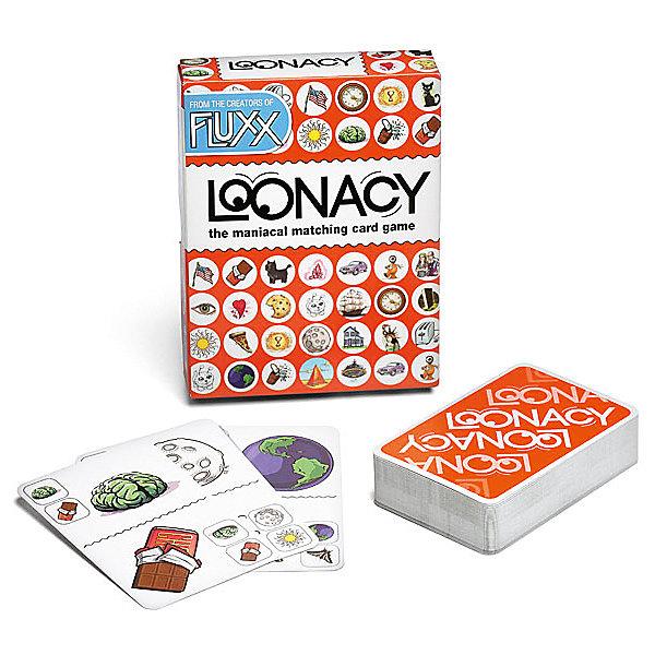 Игра Loonacy,  Hobby WorldНастольные игры для всей семьи<br>Характеристики товара:<br><br>• возраст: от 8 лет;<br>• материал: картон;<br>• количество игроков: 2-5 человек;<br>• время игры: 5-10 минут;<br>• в комплекте: 100 карт, правила игры;<br>• размер упаковки 15х10,5х3,5 см;<br>• вес упаковки 243 гр.;<br>• страна производитель: Россия.<br><br>Игра «Loonacy» Hobby World тренирует внимательность, ловкость и быстроту реакции. У каждого игрока в руках карточки. В центре игрового поля лежит карточка с изображением. Цель — как можно быстрее избавиться от своих карт. Но выкидывать карточки можно только, если одно из изображений совпадает с изображением карточки на игровом поле.<br><br>Игру «Loonacy» Hobby World можно приобрести в нашем интернет-магазине.<br>Ширина мм: 150; Глубина мм: 105; Высота мм: 35; Вес г: 243; Возраст от месяцев: 96; Возраст до месяцев: 2147483647; Пол: Унисекс; Возраст: Детский; SKU: 5597231;