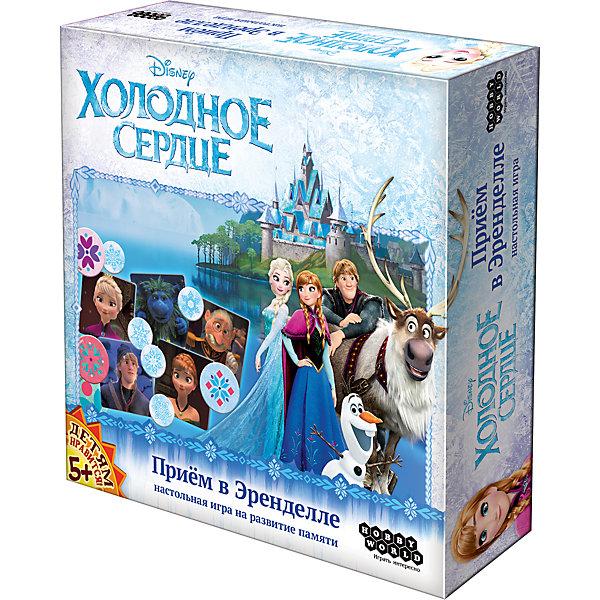Игра Холодное Сердце: Прием в Эренделле,  Hobby WorldИгры мемо<br>Характеристики товара:<br><br>• возраст: от 5 лет;<br>• материал: картон;<br>• количество игроков: 2-5 человек;<br>• время игры: от 20 минут;<br>• в комплекте: 18 квадратов с персонажами, 5 планшетов, 10 жетонов игроков, 50 жетонов очков, правила игры;<br>• размер упаковки 20,5х20,5х4,5 см;<br>• вес упаковки 404 гр.;<br>• страна производитель: Россия.<br><br>Игра «Холодное сердце. Прием в Эренделле» Hobby World создана по мотивам известного мультфильма «Холодное сердце» про сестер Эльзу и Анну. В начале игры каждый игрок получает планшет с персонажами и 2 жетона. Отбираются 9 квадратов, на которых изображены эти персонажи. <br><br>Квадраты переворачиваются картинками вниз, перемешиваются, открываются 6 из них, дети их запоминают. Карты опять переворачиваются, затем открываются 5 из них. Во время игры каждый игрок на своем планшете отмечает того персонажа, который спрятан под закрытой картой. За каждого угаданного выдаются жетоны. Игра тренирует у детей память, сообразительность.<br><br>Игру «Холодное сердце. Прием в Эренделле» Hobby World можно приобрести в нашем интернет-магазине.<br>Ширина мм: 205; Глубина мм: 205; Высота мм: 45; Вес г: 404; Возраст от месяцев: 60; Возраст до месяцев: 2147483647; Пол: Унисекс; Возраст: Детский; SKU: 5597235;