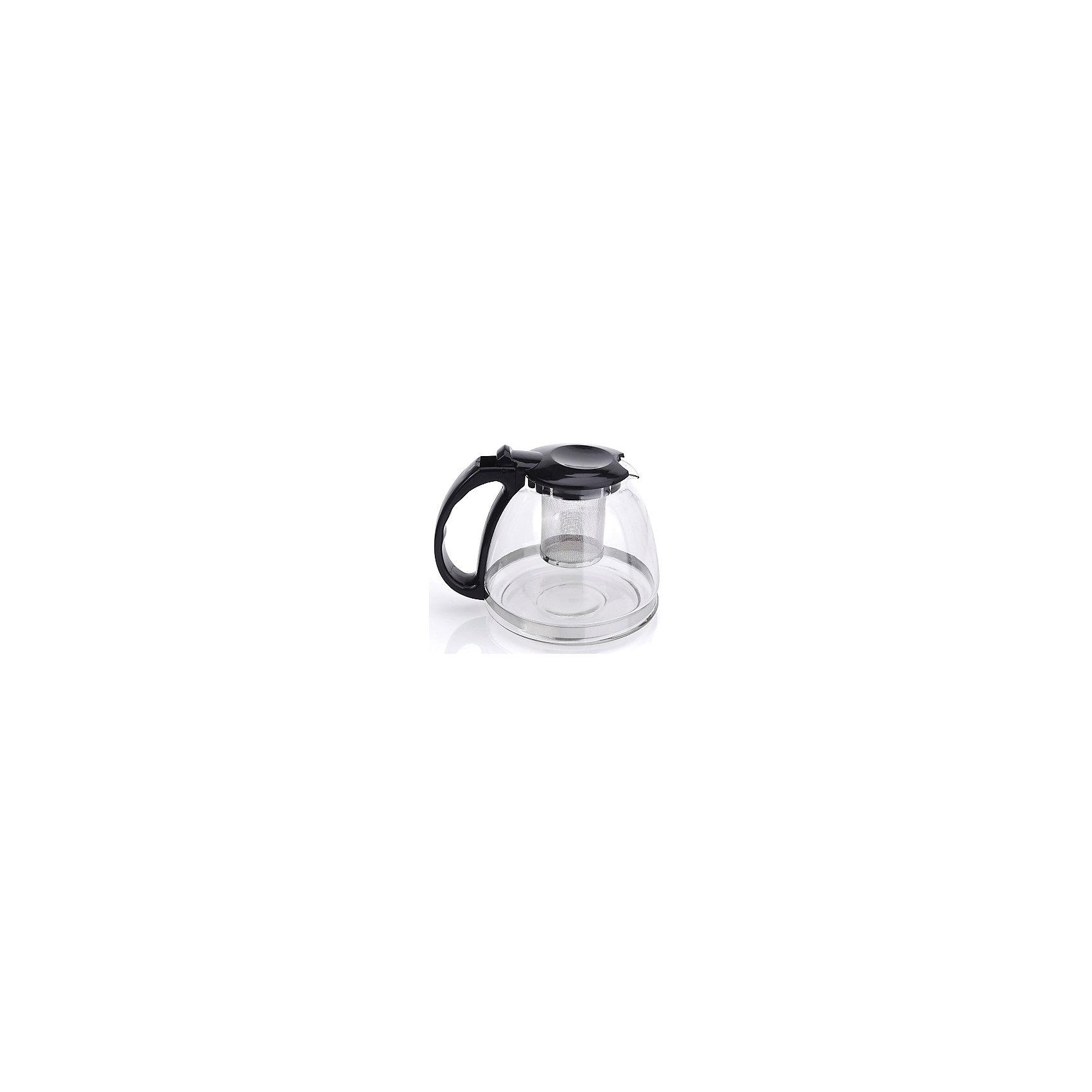 Чайник стеклянный 1300 мл, МФК-профит, черныйБытовая техника для кухни<br>Чайник стеклянный 1300 мл, МФК-профит, черный.<br><br>Характеристики:<br><br>• Объем: 1300 мл.<br>• Цвет: черный<br>• Материал: термостойкое стекло, нетоксичный пластик, нержавеющая сталь<br>• Размер упаковки: 18х15х16 см.<br>• Вес: 460 гр.<br><br>Заварочный чайник изготовлен из термостойкого стекла (термостойкость до 100 ?С), устойчив к появлению царапин и сколов, не мутнеет и не впитывает запахов. Крышка из пластика и съемный фильтр для заваривания из нержавеющей стали долговечны и удобны в уходе. Чайник оснащён удобной не нагревающейся ручкой. Форма края носика препятствует образованию подтеков. Практичный и удобный стеклянный чайник поможет Вам приготовить крепкий, ароматный чай. Заварочный чайник рекомендуется мыть вручную с применением жидких моющих средств.<br><br>Чайник стеклянный 1300 мл, МФК-профит, черный можно купить в нашем интернет-магазине.<br><br>Ширина мм: 180<br>Глубина мм: 150<br>Высота мм: 160<br>Вес г: 460<br>Возраст от месяцев: 36<br>Возраст до месяцев: 1188<br>Пол: Унисекс<br>Возраст: Детский<br>SKU: 5601146