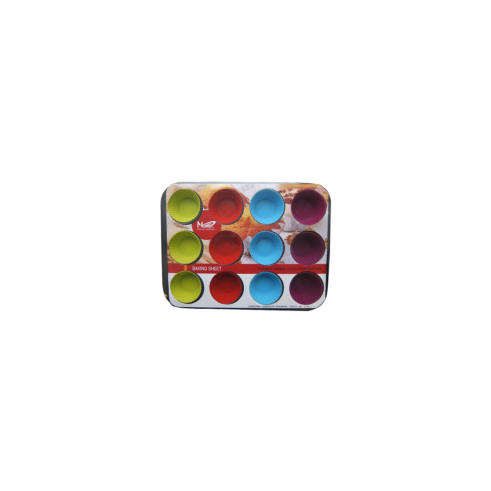Набор: форма для пирога, 12 силиконовых форм для маффинов, МФК-профитДетская посуда<br>Набор: форма для пирога, 12 силиконовых форм для маффинов, МФК-профит.<br><br>Характеристики:<br><br>• В наборе: металлическая форма для пирога с антипригарным покрытием, 12 силиконовых форм для маффинов<br>• Материал: силикон, углеродистая сталь<br>• Размер упаковки: 39х28х4 см.<br>• Вес: 96 гр.<br><br>Набор, состоящий из металлической формы для пирога с антипригарным покрытием, 12 силиконовых форм для маффинов - это хорошее приобретение для любой хозяйки. Можно использовать как в газовой, так и в электрической духовке. Подходит для мытья в посудомоечной машине.<br><br>Набор: форма для пирога, 12 силиконовых форм для маффинов, МФК-профит можно купить в нашем интернет-магазине.<br><br>Ширина мм: 390<br>Глубина мм: 280<br>Высота мм: 40<br>Вес г: 96<br>Возраст от месяцев: 36<br>Возраст до месяцев: 1188<br>Пол: Унисекс<br>Возраст: Детский<br>SKU: 5601151