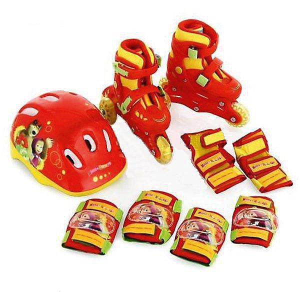Набор: ролики раздвижные, защита, шлем, Маша и Медведь, р28-31, NextРолики<br>Характеристики товара:<br><br>• цвет: красный<br>• возраст: 3-7 лет<br>• принт: Маша и Медведь<br>• колеса: ПВХ (60х18мм)<br>• особенности: раздвижные<br>• подшипник 608z<br>• застежки: две клипсы с фиксатором<br>• колеса можно расположить как 3 в ряд, так и 1 спереди, а 2 сзади<br>• вес упаковки: 2450 гр.<br>• габариты упаковки: 23х34х28см<br><br>В комплект входят: ролики раздвижные, защита для колен и локтей, шлем. <br><br>Набор: ролики раздвижные, защита, шлем, Маша и Медведь, Next можно приобрести в нашем игнтернет-магазине.<br><br>Ширина мм: 230<br>Глубина мм: 340<br>Высота мм: 280<br>Вес г: 2450<br>Цвет: красный<br>Возраст от месяцев: 36<br>Возраст до месяцев: 84<br>Пол: Унисекс<br>Возраст: Детский<br>Размер: 28-31<br>SKU: 5603730