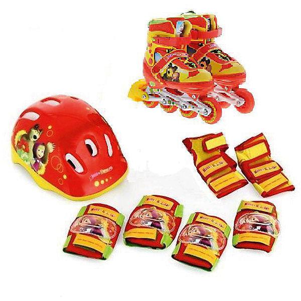 Набор: ролики раздвижные, защита, шлем, Маша и Медведь, р28-31, NextРолики<br>Характеристики товара:<br><br>• цвет: красный<br>• возраст: 5-10 лет<br>• принт: Маша и Медведь<br>• колеса: ПВХ (64х24мм)<br>• особенности: раздвижные (размер 28-31)<br>• пкарбоновый подшипник ABEC-7<br>• застежки: две клипсы с фиксатором<br>• алюминевая рама<br>• вес упаковки: 2350 гр.<br>• габариты упаковки: 23х34х28см<br><br>В комплект входят: ролики раздвижные, защита для колен и локтей, шлем. <br><br>Набор: ролики раздвижные, защита, шлем, Маша и Медведь, Next можно приобрести в нашем интернет-магазине.<br><br>Ширина мм: 230<br>Глубина мм: 340<br>Высота мм: 280<br>Вес г: 2350<br>Цвет: красный<br>Возраст от месяцев: 60<br>Возраст до месяцев: 120<br>Пол: Унисекс<br>Возраст: Детский<br>Размер: 30-33<br>SKU: 5603753