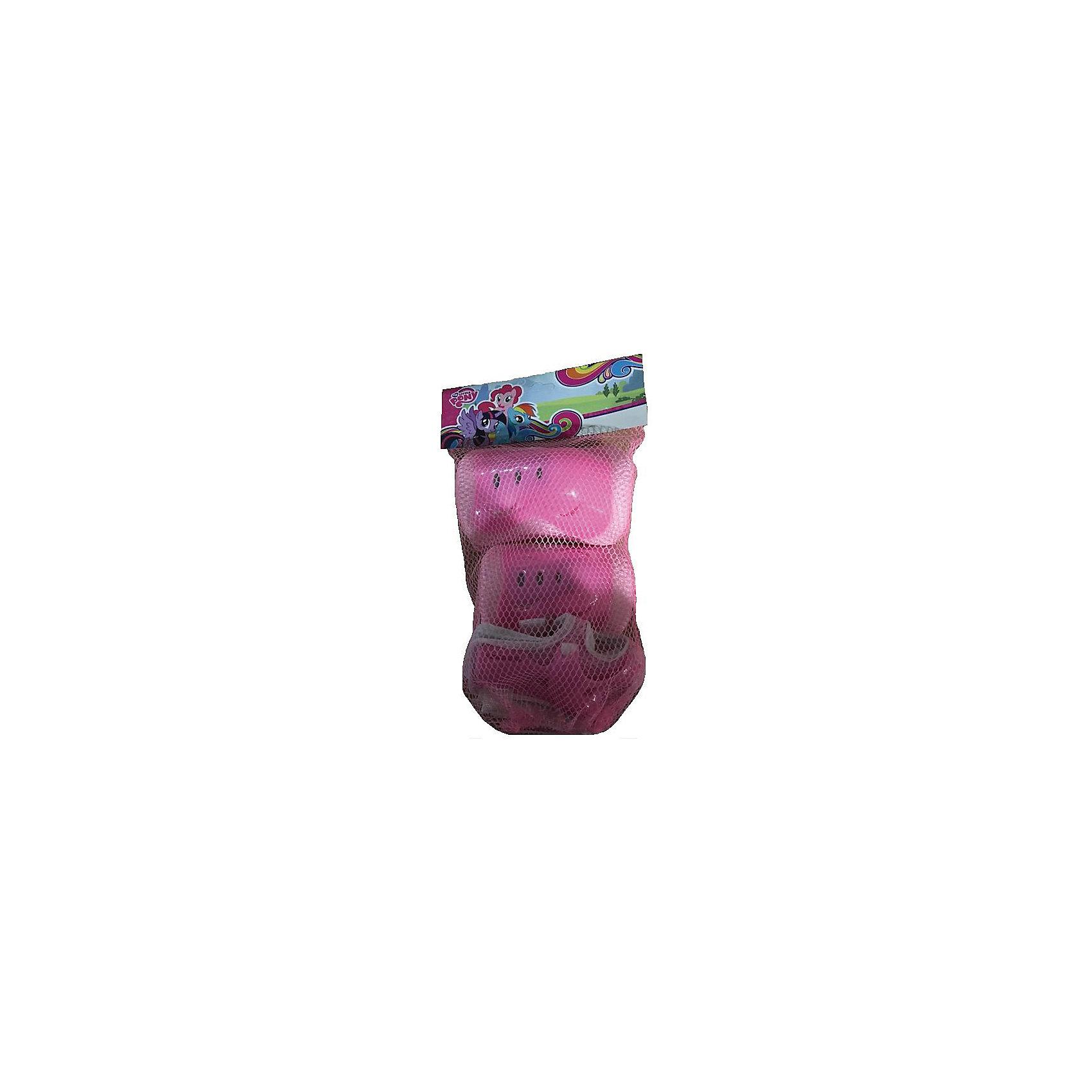 Комплект защиты для колен, локтей, запястий, Мой Маленький ПониЗащита, шлемы<br>Характеристики товара:<br><br>• цвет: розовый<br>• материал: текстиль, пластик<br>• возраст: от 3 лет<br>• упаковка: сетка<br>• размеры упаковки: 8х33х19 см<br>• вес: 150 гр.<br><br>Комплект защиты просто необходим  при обучении детей катанию на роликах, самокате или велосипеде. Благодаря защитным аксессуарам из набора колени, локти и запястья юного ездока будут надежно защищены от травм и ушибов при падениях.<br><br>На корпусе изделий предусмотрены липучки, поэтому ребенок самостоятельно сможет застегивать их на себе. Отверстия на поверхности аксессуаров обеспечивают постоянную вентиляцию воздуха, что делает процесс катания более комфортным.<br><br>Защитные атрибуты выполнены из ударопрочного пластика высокого качества, а также гипоаллергенного текстильного материала, дополнительно смягчающего удары.<br><br>Комплект защиты для колен, локтей, запястий, Мой Маленький Пони можно купить в нашем интернет-магазине.<br><br>Ширина мм: 80<br>Глубина мм: 330<br>Высота мм: 190<br>Вес г: 150<br>Возраст от месяцев: 36<br>Возраст до месяцев: 84<br>Пол: Женский<br>Возраст: Детский<br>SKU: 5603779