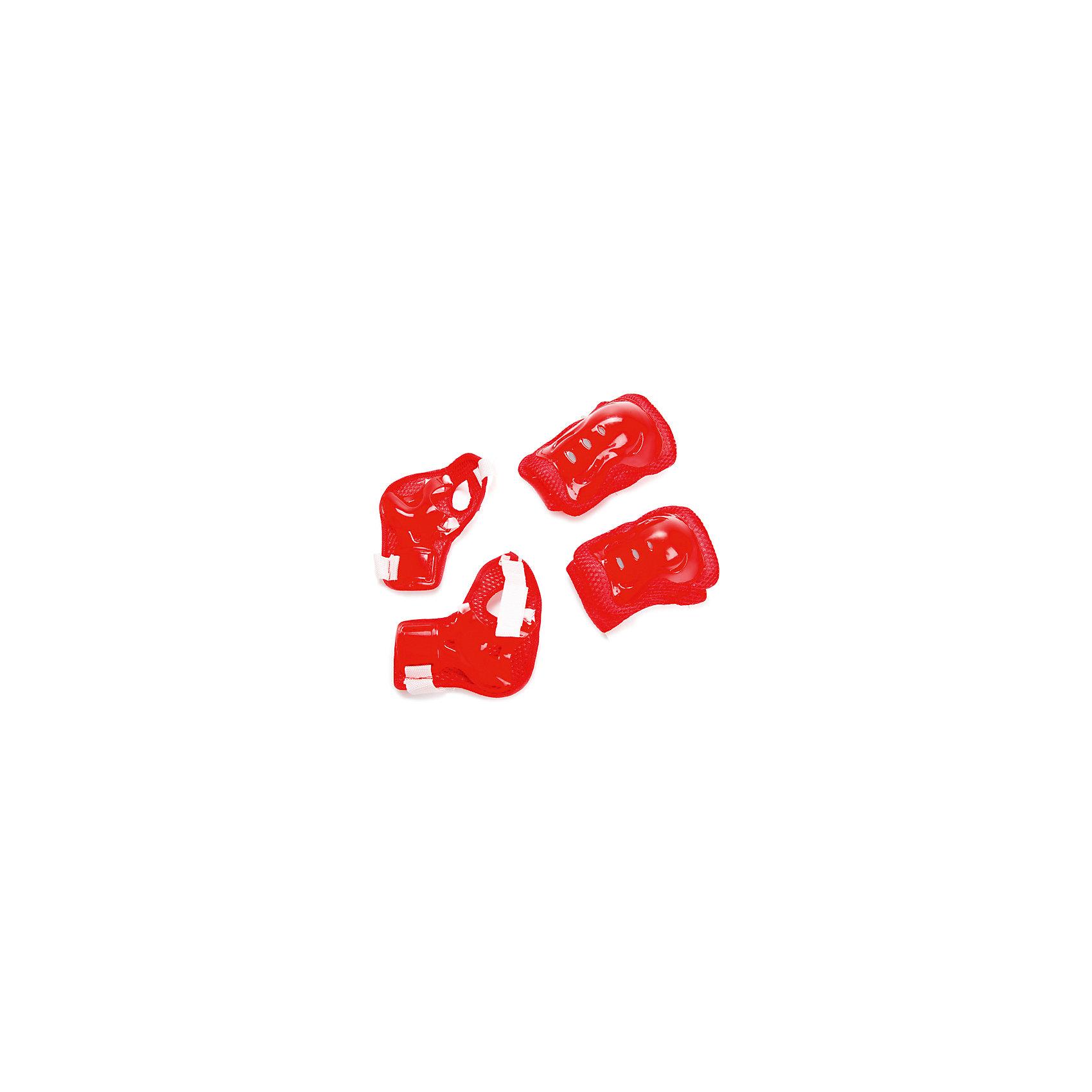 Комплект защиты для колен, локтей, запястий, Маша и МедведьЗащита, шлемы<br>Характеристики товара:<br><br>• цвет: красный<br>• материал: текстиль, пластик<br>• возраст: от 3 лет<br>• упаковка: сетка<br>• размеры упаковки: 8х33х19 см<br>• вес: 150 гр.<br><br>Комплект защиты просто необходим  при обучении детей катанию на роликах, самокате или велосипеде. Благодаря защитным аксессуарам из набора колени, локти и запястья юного ездока будут надежно защищены от травм и ушибов при падениях.<br><br>На корпусе изделий предусмотрены липучки, поэтому ребенок самостоятельно сможет застегивать их на себе. Отверстия на поверхности аксессуаров обеспечивают постоянную вентиляцию воздуха, что делает процесс катания более комфортным.<br><br>Защитные атрибуты выполнены из ударопрочного пластика высокого качества, а также гипоаллергенного текстильного материала, дополнительно смягчающего удары.<br><br>Комплект защиты для колен, локтей, запястий, Маша и Медведь можно купить в нашем интернет-магазине.<br><br>Ширина мм: 80<br>Глубина мм: 330<br>Высота мм: 190<br>Вес г: 150<br>Возраст от месяцев: 36<br>Возраст до месяцев: 84<br>Пол: Унисекс<br>Возраст: Детский<br>SKU: 5603780