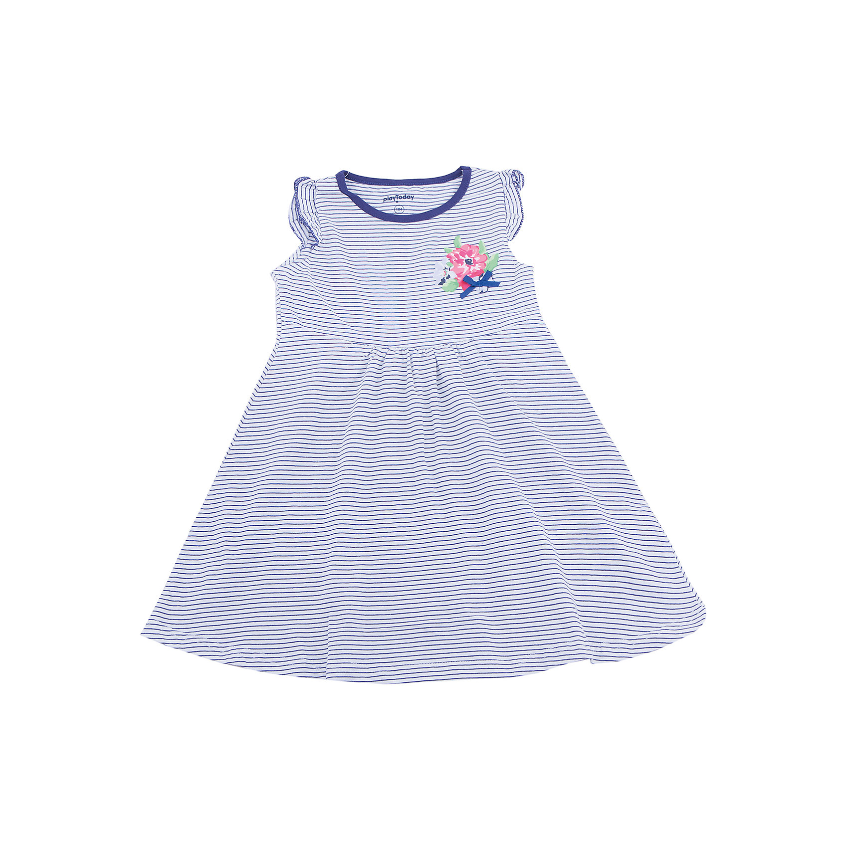 Платье для девочки PlayTodayЛетние платья и сарафаны<br>Стильное женственное платье. Расклешенная юбка не будет мешать ребенку играть и бегать. Рукава-крылышки придают легкости, а нежные цветочки на фоне контрастных полос смотрятся стильно.<br>Состав:<br>100% хлопок<br><br>Ширина мм: 236<br>Глубина мм: 16<br>Высота мм: 184<br>Вес г: 177<br>Цвет: разноцветный<br>Возраст от месяцев: 72<br>Возраст до месяцев: 84<br>Пол: Женский<br>Возраст: Детский<br>Размер: 122,104,128,110,116,98<br>SKU: 5603797