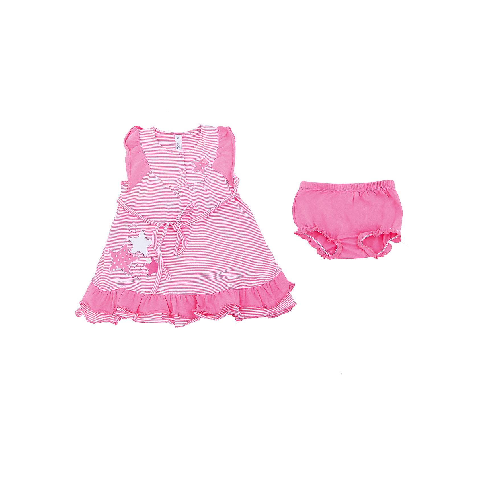 Комплект: платье и трусы для девочки PlayTodayКомплекты<br>Характеристики товара:<br><br>• цвет: розовый<br>• состав: 95% хлопок, 5% эластан<br>• комплектация: трусы, платье<br>• принт<br>• дышащий материал<br>• мягкая окантовка<br>• эластичный трикотаж<br>• рукава-крылышки<br>• комфортная посадка<br>• коллекция: весна-лето 2017<br>• страна бренда: Германия<br>• страна производства: Китай<br><br>Популярный бренд PlayToday выпустил новую коллекцию! Вещи из неё продолжают радовать покупателей удобством, стильным дизайном и продуманным кроем. Дети носят их с удовольствием. <br>Такая стильная модель обеспечит ребенку комфорт благодаря качественному материалу и продуманному крою. В составе ткани - натуральный хлопок, который позволяет коже дышать и не вызывает аллергии. Такие вещи очень просты в уходе.<br>PlayToday - это линейка товаров, созданная специально для детей. Дизайнеры учитывают новые веяния моды и потребности детей. Порадуйте ребенка обновкой от проверенного производителя!<br><br>Комплект: платье и трусы для девочки от известного бренда PlayToday можно купить в нашем интернет-магазине.<br><br>Ширина мм: 236<br>Глубина мм: 16<br>Высота мм: 184<br>Вес г: 177<br>Цвет: розовый<br>Возраст от месяцев: 6<br>Возраст до месяцев: 9<br>Пол: Женский<br>Возраст: Детский<br>Размер: 74,92,86,80<br>SKU: 5603853