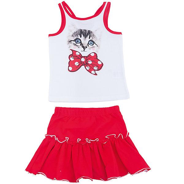 Комплект: майка и юбка для девочки PlayTodayКомплекты<br>Характеристики товара:<br><br>• цвет: красный<br>• состав: 95% хлопок, 5% эластан<br>• комплектация: майка и юбка<br>• дышащий материал<br>• принт<br>• мягкая резинка на талии<br>• комфортная посадка<br>• коллекция: весна-лето 2017<br>• страна бренда: Германия<br>• страна производства: Китай<br><br>Популярный бренд PlayToday выпустил новую коллекцию! Вещи из неё продолжают радовать покупателей удобством, стильным дизайном и продуманным кроем. Дети носят их с удовольствием. <br>Такая стильная модель обеспечит ребенку комфорт благодаря качественному материалу и продуманному крою. В составе ткани - натуральный хлопок, который позволяет коже дышать и не вызывает аллергии. Такие вещи очень просты в уходе.<br>PlayToday - это линейка товаров, созданная специально для детей. Дизайнеры учитывают новые веяния моды и потребности детей. Порадуйте ребенка обновкой от проверенного производителя!<br><br>Комплект: майка и юбка для девочки от известного бренда PlayToday можно купить в нашем интернет-магазине.<br>Ширина мм: 207; Глубина мм: 10; Высота мм: 189; Вес г: 183; Цвет: белый; Возраст от месяцев: 60; Возраст до месяцев: 72; Пол: Женский; Возраст: Детский; Размер: 116,128,104,110,122,98; SKU: 5604125;