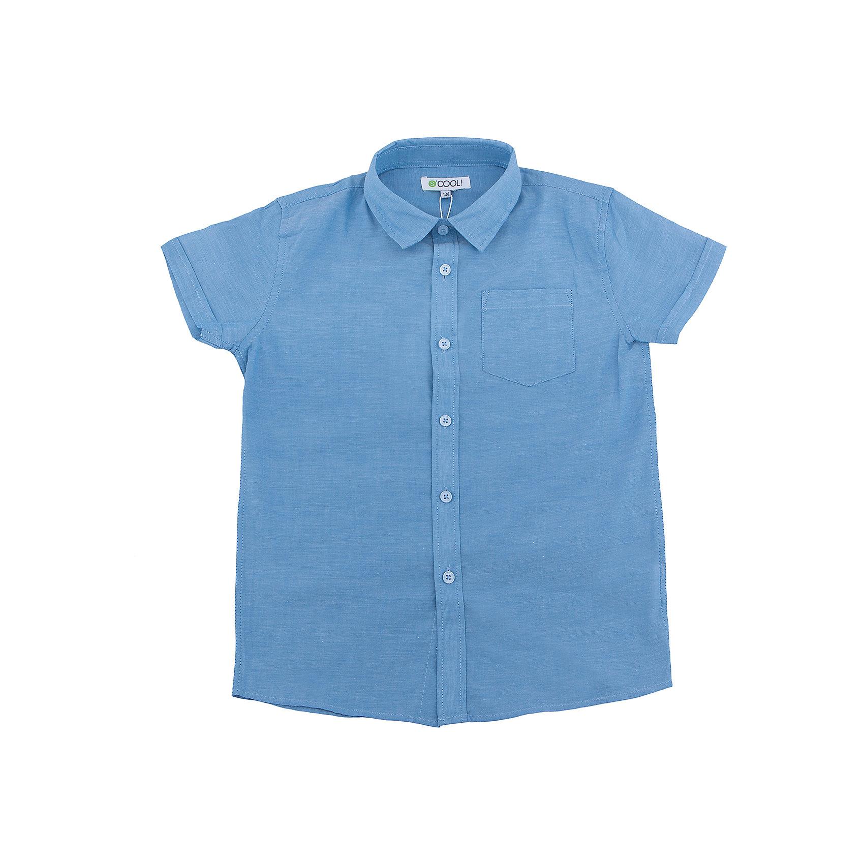 Рубашка для мальчика ScoolБлузки и рубашки<br>Характеристики товара:<br><br>• цвет: синий<br>• состав: 100% хлопок<br>• застежки: пуговицы<br>• дышащий материал<br>• свободная посадка<br>• легкая ткань<br>• короткие рукава<br>• комфортная посадка<br>• коллекция: весна-лето 2017<br>• страна бренда: Германия<br>• страна производства: Китай<br><br>Популярный бренд Scool выпустил новую коллекцию! Вещи из неё продолжают радовать покупателей удобством, стильным дизайном и продуманным кроем. Дети носят их с удовольствием. <br>Такая стильная модель обеспечит ребенку комфорт благодаря качественному материалу и продуманному крою. В составе ткани - натуральный хлопок, который позволяет коже дышать и не вызывает аллергии. Такие вещи очень просты в уходе.<br>Scool - это линейка товаров, созданная специально для детей школьного возраста. Дизайнеры учитывают новые веяния моды и потребности детей. Порадуйте ребенка обновкой от проверенного производителя!<br><br>Рубашку для мальчика от известного бренда Scool можно купить в нашем интернет-магазине.<br><br>Ширина мм: 174<br>Глубина мм: 10<br>Высота мм: 169<br>Вес г: 157<br>Цвет: голубой<br>Возраст от месяцев: 96<br>Возраст до месяцев: 108<br>Пол: Мужской<br>Возраст: Детский<br>Размер: 134,164,152,158,146,140<br>SKU: 5604360