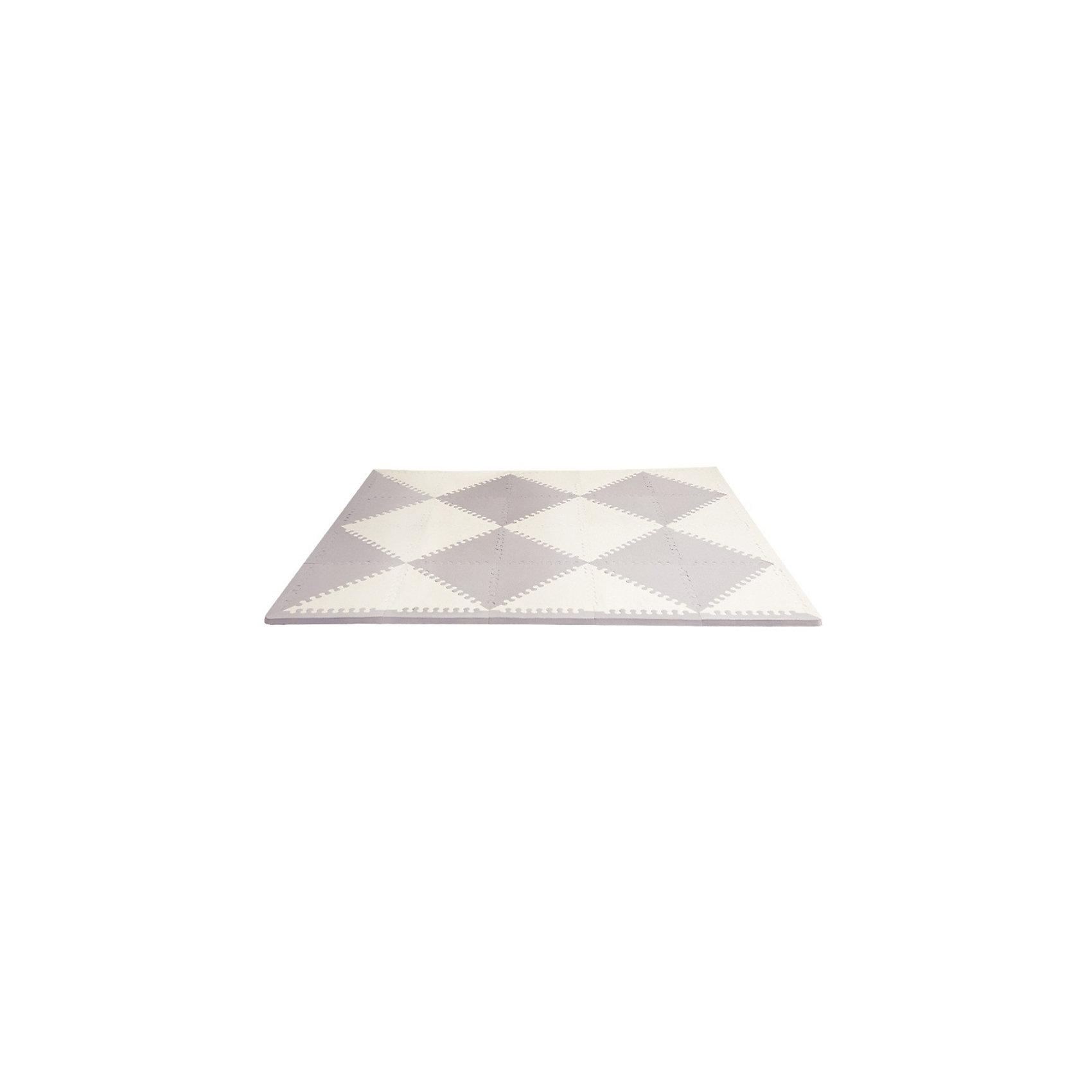 Напольный коврик, Skip Hop, серый/кремКовры<br>Характеристики товара:<br><br>• возраст от 10 месяцев;<br>• материал: ПВХ;<br>• в комплекте: 40 треугольников, 32 детали-кромки;<br>• размер коврика 178х142 см;<br>• страна производитель: Китай.<br><br>Напольный коврик Playspot Skip Hop серый/кремовый — развивающий коврик для детей от 10 месяцев, который может служить как обычным ковриком для игр и занятий, так и настоящим пазлом из больших деталей. Детали коврика можно соединять между собой в любой конфигурации и менять постоянно местами. Собирая пазл, дети выучат формы, цвета, у них развивается моторика рук, мышление, цветовое восприятие, тактильные ощущения. Коврик изготовлен из качественного приятного на ощупь материала, безопасного для детей.<br><br>Напольный коврик Playspot Skip Hop серый/кремовый можно приобрести в нашем интернет-магазине.<br><br>Ширина мм: 380<br>Глубина мм: 290<br>Высота мм: 360<br>Вес г: 2634<br>Возраст от месяцев: 24<br>Возраст до месяцев: 84<br>Пол: Унисекс<br>Возраст: Детский<br>SKU: 5608241