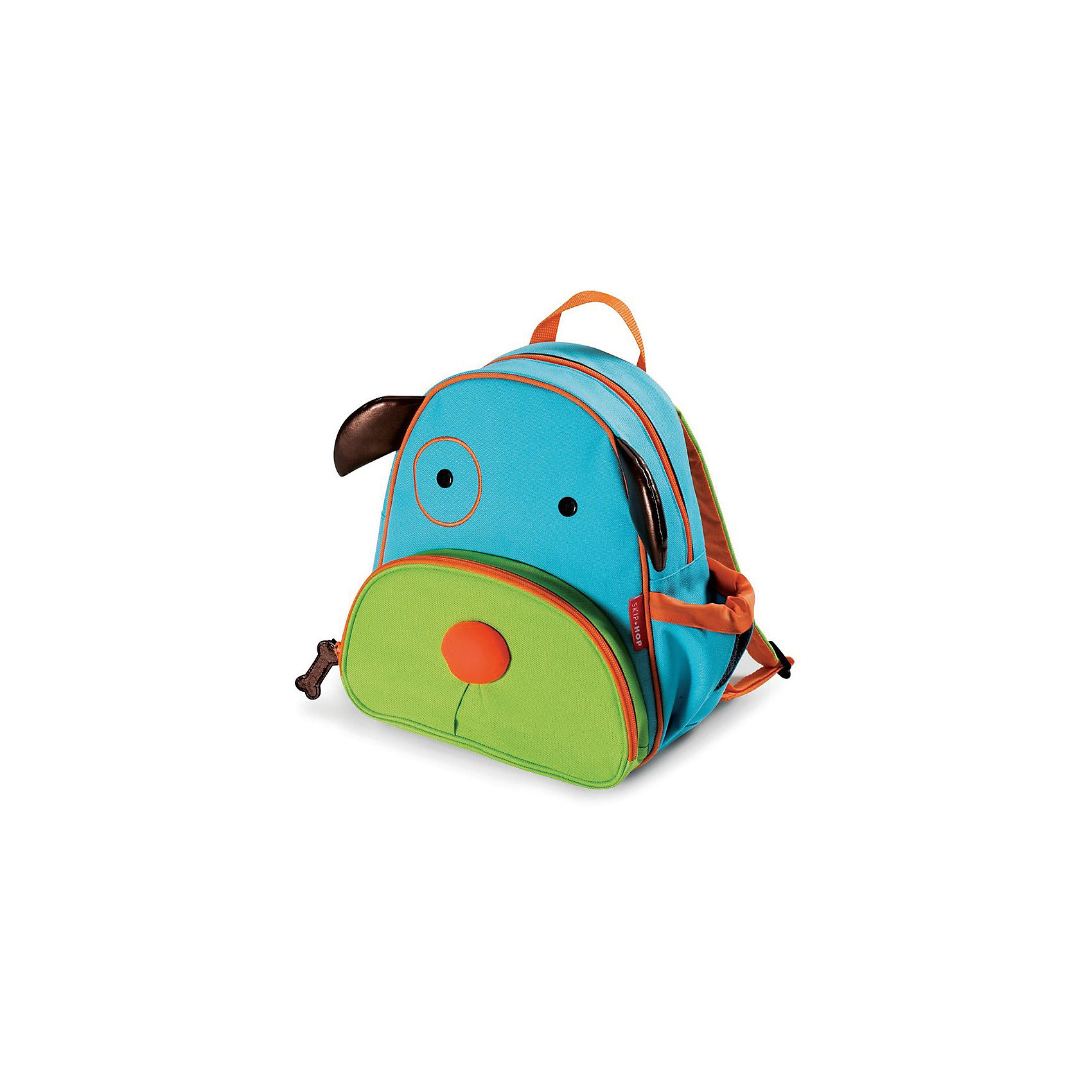 Рюкзак детский Собака, Skip HopДетские рюкзаки<br>Характеристики товара:<br><br>• возраст от 3 лет;<br>• материал: полиэстер;<br>• размер рюкзака 25х29х11 см;<br>• вес рюкзака 270 гр.;<br>• страна производитель: Китай.<br><br>Рюкзак детский «Собака» Skip Hop выполнен в виде забавной собачки с глазками, носиком и ушками. На молниях висят брелки в виде косточки. Ребенок сможет брать с собой все необходимое на прогулку, в детский садик, в гости, на дачу. В основном отделении поместятся тетради, альбомы, блокноты, карандаши, фломастеры. Спереди кармашек для дополнительных мелочей, а сбоку для бутылочки с напитком или бокса для еды. <br><br>Мягкие регулируемые лямки обеспечивают комфортное ношение. Предусмотрена небольшая ручка для переноски в руках или подвешивания. Рюкзак выполнен из прочной качественной ткани. Его можно стирать в стиральной машине.<br><br>Рюкзак детский «Собака» Skip Hop можно приобрести в нашем интернет-магазине.<br><br>Ширина мм: 290<br>Глубина мм: 50<br>Высота мм: 320<br>Вес г: 350<br>Возраст от месяцев: 24<br>Возраст до месяцев: 72<br>Пол: Унисекс<br>Возраст: Детский<br>SKU: 5608246