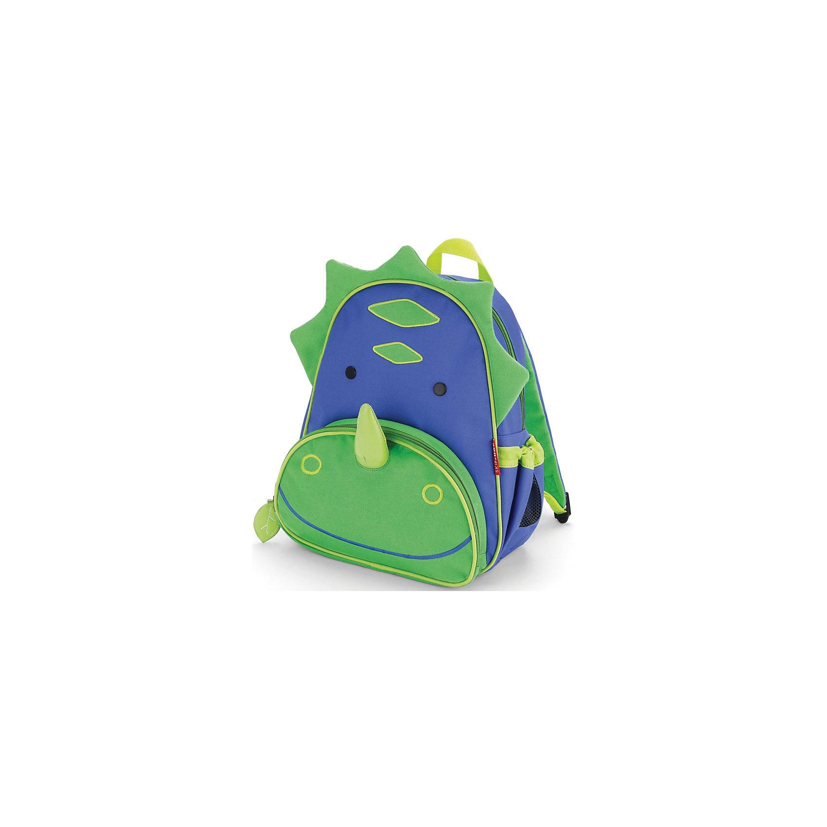 Рюкзак детский Динозавр, Skip HopДетские рюкзаки<br>Рюкзачок Skip Hop Zoo Pack каждый день будет радовать Вашего малыша, вызывать улыбки у прохожих и зависть у сверстников. С ним можно ходить в детский сад, спортивные секции, на прогулку, в гости к бабушке или ездить на экскурсии. В основной отсек легко поместится книжка, альбом для рисования, краски, фломастеры, любимая игрушка и контейнер с едой, а специальный кармашек сбоку предназначен специально для бутылочки с водой. Передний кармашек на молнии предназначен для мелких вещичек. Внутренний кармашек на резиночке зафиксирует положение содержимого: не даст выпасть фломастерам или сломаться киндер-сюрпризу. Рюкзачок выполнен из прочной ткани, способной выдерживать бесконечное количество стирок в машинке. Лямки рюкзачка мягкие, регулируемые. <br><br> <br><br>• Размер: 11 x 25 х 29 см<br><br>• Для детей с 3 лет<br><br>Ширина мм: 290<br>Глубина мм: 50<br>Высота мм: 320<br>Вес г: 350<br>Возраст от месяцев: 24<br>Возраст до месяцев: 72<br>Пол: Унисекс<br>Возраст: Детский<br>SKU: 5608248
