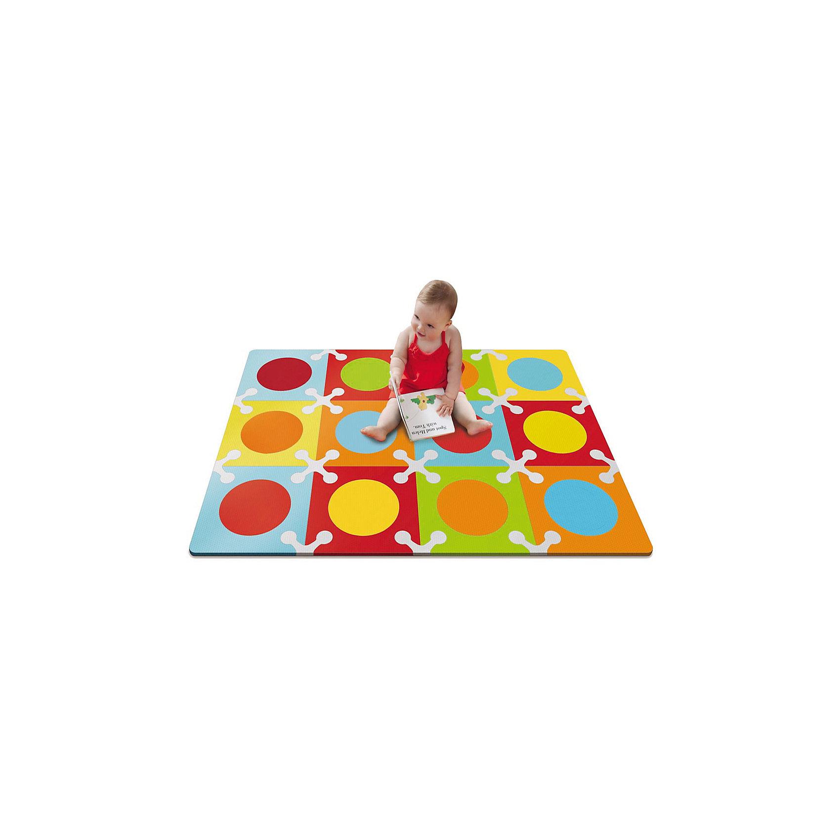 Напольный коврик, Skip Hop, цветнойКовры<br>Характеристики товара:<br><br>• возраст от 10 месяцев;<br>• материал: ПВХ;<br>• в комплекте 12 квадратов;<br>• размер коврика 107х142 см;<br>• страна производитель: Китай.<br><br>Напольный коврик Playspot Skip Hop цветной — развивающий коврик для детей от 10 месяцев, который может служить как обычным ковриком для игр и занятий, так и настоящим пазлом из больших деталей. Детали коврика можно соединять между собой в любой конфигурации и менять постоянно местами. Собирая пазл, дети выучат формы, цвета, у них развивается моторика рук, мышление, цветовое восприятие, тактильные ощущения. Коврик изготовлен из качественного приятного на ощупь материала, безопасного для детей.<br><br>Напольный коврик Playspot Skip Hop цветной можно приобрести в нашем интернет-магазине.<br><br>Ширина мм: 370<br>Глубина мм: 200<br>Высота мм: 370<br>Вес г: 2534<br>Возраст от месяцев: 24<br>Возраст до месяцев: 84<br>Пол: Унисекс<br>Возраст: Детский<br>SKU: 5608259
