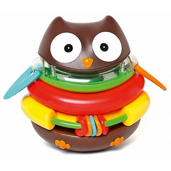 Развивающая пирамида-неваляшка Сова, Skip HopМягкие игрушки животные<br>Характеристики товара:<br><br>• возраст от 6 месяцев;<br>• материал: пластик;<br>• размер игрушки 15х18х14 см;<br>• размер упаковки 23х17х15 см;<br>• вес упаковки 663 гр.;<br>• страна производитель: Китай.<br><br>Развивающая пирамидка-неваляшка «Сова» Skip Hop в виде совенка в глазками — удивительная развивающая игрушка для малышей с множеством возможностей. Она состоит из 5 колец, которые вместе собираются в пирамидку. Желтое кольцо выполняет роль погремушки с нанизанными фигурками. На зеленом кольце расположены резиновые крылышки, которые малыш сможет грызть во время прорезывания зубов. Голова может служить игрушкой-неваляшкой или погремушкой. Играя с игрушкой, у малыша развиваются тактильные ощущения, мелкая моторика рук, цветовое восприятие, логическое мышление. Игрушка изготовлена из качественного безвредного пластика.<br><br>Развивающую пирамидку-неваляшку «Сова» Skip Hop можно приобрести в нашем интернет-магазине.<br>Ширина мм: 170; Глубина мм: 150; Высота мм: 230; Вес г: 663; Возраст от месяцев: 24; Возраст до месяцев: 72; Пол: Унисекс; Возраст: Детский; SKU: 5608261;