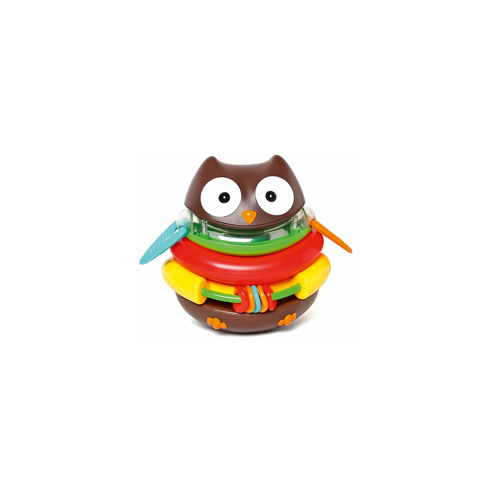 Развивающая пирамида-неваляшка Сова, Skip HopРазвивающие игрушки<br>Эта яркая и красивая жительница леса удивит и поразит воображение крохи — он получит большое удовольствие от игры с этой необычной игрушечной пташкой и новые полезные навыки! Сова-пирамидка состоит из нескольких частей-колец разных цветов и конфигурации, которые, складываясь друг на друга, образуют туловище птицы.<br>•каждый элемент пронумерован и дополнен отличительными возможностями;<br>•желтое кольцо с нанизанными гремящими фигурками выполняет роль погремушки;<br>•зеленое кольцо имеет по бокам два резиновых крылышка, которые малыш может грызть во время прорезывания зубов;<br>•в голове совы расположены гремящие элементы.<br><br>С совой можно играть как с неваляшкой — она принимает исходное положение после толчка и попытки уронить. Это свойство по-настоящему изумляет малышей!<br><br>Ширина мм: 170<br>Глубина мм: 150<br>Высота мм: 230<br>Вес г: 663<br>Возраст от месяцев: 24<br>Возраст до месяцев: 72<br>Пол: Унисекс<br>Возраст: Детский<br>SKU: 5608261