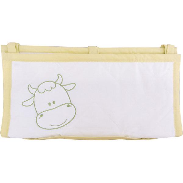 Карман для кроватки На лугу, FairyПостельное белье в кроватку новорождённого<br>Характеристики товара:<br><br>• возраст с рождения;<br>• материал: хлопок;<br>• размер 59х60 см;<br>• 6 карманов<br>• крепится при помощи завязок<br>• размер упаковки 35х25х5 см;<br>• вес упаковки 300 гр.;<br>• страна производитель: Россия.<br><br>Карман для кроватки «На лугу» Fairy позволяет маме иметь все необходимые вещи по уходу ха ребенком — салфетки, подгузники, игрушки, соски — всегда под рукой. При помощи 3 завязок карман крепится на кроватку. Предусмотрено 6 карманов для различных предметов. Карман изготовлен из качественного натурального хлопка.<br><br>Карман для кроватки «На лугу» Fairy можно приобрести в нашем интернет-магазине.<br><br>Ширина мм: 590<br>Глубина мм: 600<br>Высота мм: 100<br>Вес г: 300<br>Возраст от месяцев: 0<br>Возраст до месяцев: 36<br>Пол: Унисекс<br>Возраст: Детский<br>SKU: 5610104