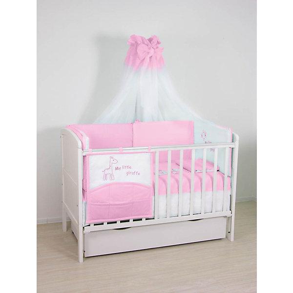 Комплект в кроватку 7 предметов Fairy, Жирафик, розовыйПостельное белье в кроватку новорождённого<br>Характеристики товара:<br><br>• возраст с рождения;<br>• материал: хлопок;<br>• штора балдахина 179х300 см<br>• борт 2 части 38х180 см<br>• подушка 40х60 см<br>• наволочка 40х60 см<br>• простыня 100х160 см<br>• пододеяльник и одеяло 105х145 см;<br>• размер упаковки 70х25х42 см;<br>• вес упаковки 2,5 кг;<br>• страна производитель: Россия.<br><br>Постельное белье «Жирафик» Fairy розовое обеспечит крохе уютный и спокойный сон. Белье изготовлено из натурального хлопка, который не вызывает у малышей аллергических реакций и раздражения. <br><br>Постельное белье «Жирафик» Fairy розовое можно приобрести в нашем интернет-магазине.<br>Ширина мм: 700; Глубина мм: 250; Высота мм: 420; Вес г: 2500; Возраст от месяцев: 0; Возраст до месяцев: 36; Пол: Женский; Возраст: Детский; SKU: 5610121;