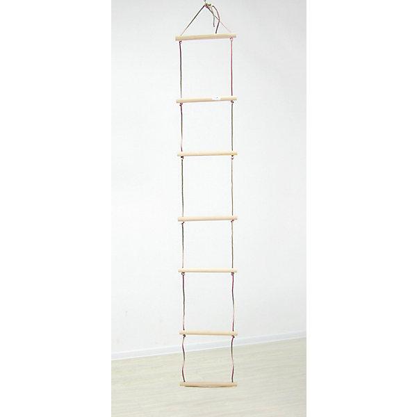 Лестница подвесная, ФеяШведские стенки<br>Характеристики товара:<br><br>• возраст с 6 лет;<br>• материал: дерево;<br>• в комплекте: лестница, 2 крюка;<br>• высота лестницы 2,1 м;<br>• ширина шага 30 см;<br>• высокопрочный шнур диаметров 5 мм<br>• диаметр ступеней 25 мм<br>• максимальная нагрузка 40 кг;<br>• размер упаковки 60х50х25 см;<br>• вес упаковки 1,7 кг;<br>• страна производитель: Россия.<br><br>Лестница подвесная Фея подойдет для активных спортивных занятий дома. Лестница надежно крепится при помощи 2 металлических крюков. Ступени изготовлены из качественного дерева и хорошо отшлифованы. Занимаясь на лестнице, у малыша развиваются координация движений, тренируются различные группы мышц. <br><br>Лестницу подвесную Фея можно приобрести в нашем интернет-магазине.<br>Ширина мм: 600; Глубина мм: 500; Высота мм: 250; Вес г: 1700; Возраст от месяцев: 6; Возраст до месяцев: 144; Пол: Унисекс; Возраст: Детский; SKU: 5610144;