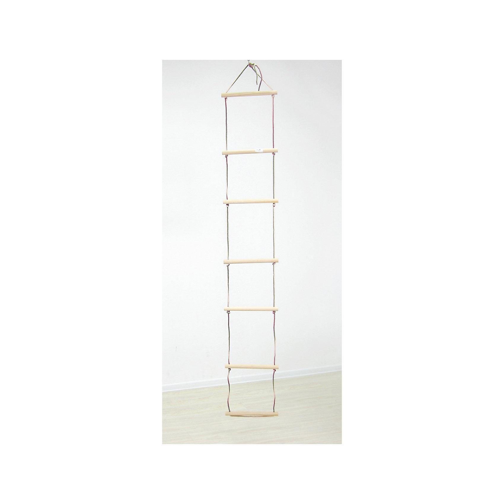 Лестница подвесная, ФеяШведские стенки<br>*ступени из высококачественной древесины,<br>шлифованные, диаметром 25 мм, шириной 300 мм,<br>* высокопрочный шнур диаметром 5 мм,<br>* шаг ступеней: 30 см,<br>* максимальная нагрузка :40 кг<br><br>Ширина мм: 600<br>Глубина мм: 500<br>Высота мм: 250<br>Вес г: 1700<br>Возраст от месяцев: 6<br>Возраст до месяцев: 144<br>Пол: Унисекс<br>Возраст: Детский<br>SKU: 5610144