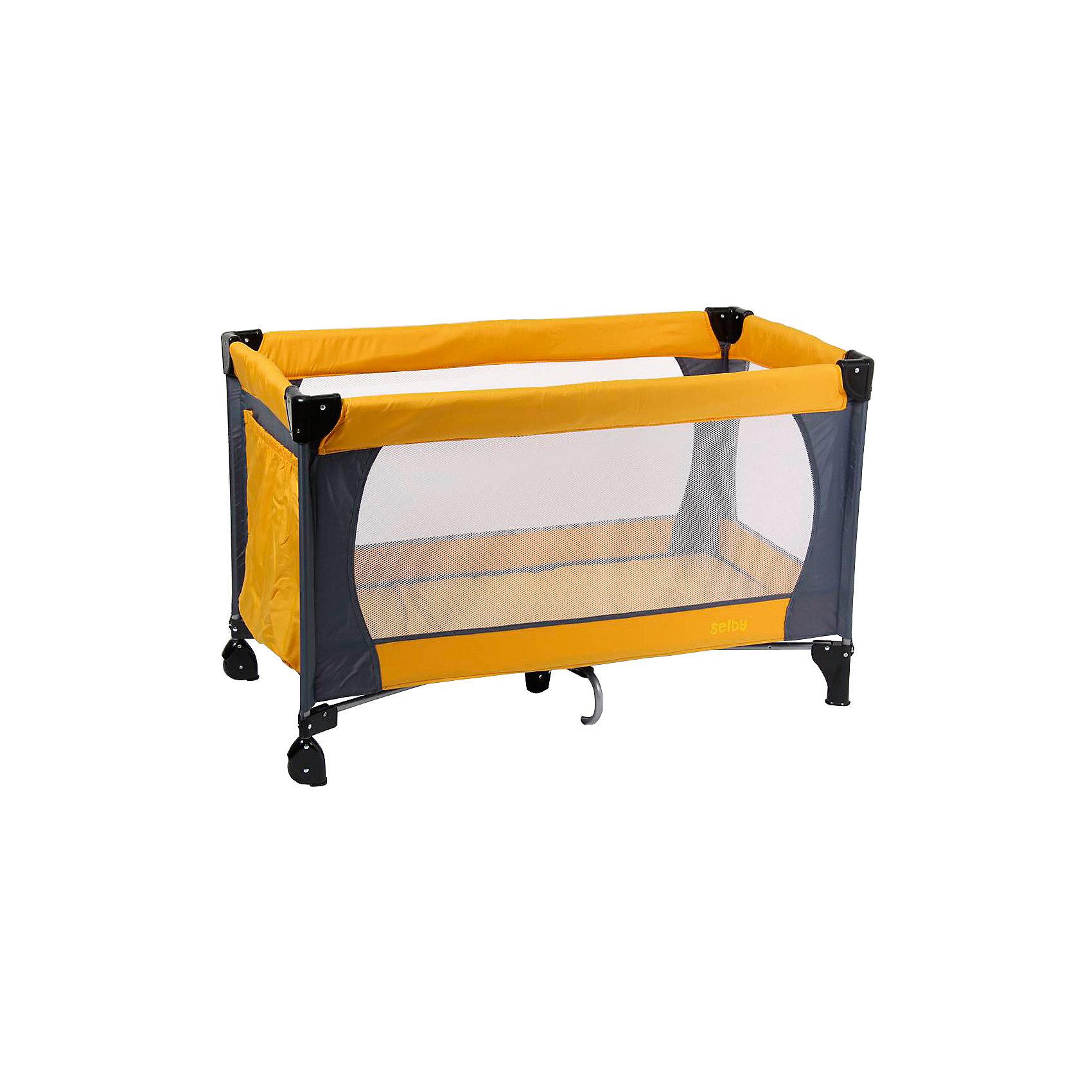 Манеж 211, Selby, оранжевыйИгровые манежи<br>Характеристики товара:<br><br>• возраст с рождения;<br>• материал: пластик;<br>• в комплекте: манеж, сумка;<br>• размер манежа 120х60х76 см;<br>• 2 колеса<br>• углы со специальными накладками<br>• имеется боковой карман для принадлежностей<br>• стенки из сетчатого материала<br>• манеж легко складывается<br>• вес манежа 9,5 кг;<br>• размер упаковки 110х76х77 см;<br>• вес упаковки 10 кг;<br>• страна производитель: Китай.<br><br>Манеж 211 Selby оранжевый — комфортный манеж для игр и отдыха малыша. Стенки манежа выполнены из сетчатого материала, который обеспечивает хороший воздухообмен. 2 колесика облегчают перемещение по квартире. Углы манежа закрыты пластиковыми накладками, чтобы избежать случайных травм. Для хранения игрушек, салфеток, полотенец предусмотрен боковой карман. <br><br>Конструкция отличается хорошей устойчивостью благодаря дополнительному упору по центру. Манеж можно использовать не только дома, но и брать с собой в поездку или на дачу, так как он легко складывается. Для его транспортировки имеется удобная сумка.<br><br>Манеж 211 Selby оранжевый можно приобрести в нашем интернет-магазине.<br><br>Ширина мм: 1100<br>Глубина мм: 760<br>Высота мм: 770<br>Вес г: 10000<br>Возраст от месяцев: 0<br>Возраст до месяцев: 36<br>Пол: Унисекс<br>Возраст: Детский<br>SKU: 5610145