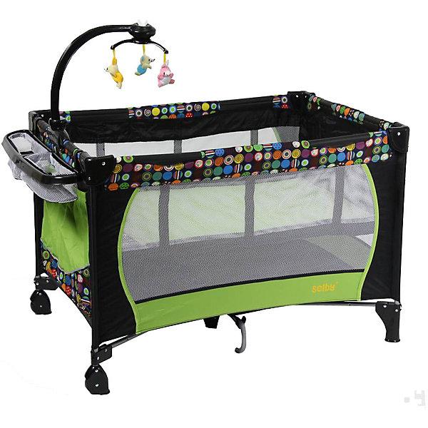 Манеж 212, Selby, зеленыйДетские кроватки<br>Характеристики товара:<br><br>• возраст с рождения;<br>• материал: пластик;<br>• 2 уровня высоты;<br>• в комплекте: манеж, сумка, мобиль с игрушками, съемный ящик;<br>• размер манежа 110х76х77 см;<br>• 2 колеса<br>• накладки на углах манежа<br>• карман для хранения мелочей<br>• на манже крепится мобиль с игрушками<br>• стенки манежа из сетчатого материала<br>• манже легко складывается<br>• вес упаковки 12,8 кг;<br>• страна производитель: Китай.<br><br>Манеж 212 Selby зеленый — комфортный манеж для игр и отдыха малыша. Для новорожденного используется верхний уровень, а для детей постарше нижний уровень как для отдыха, так и для игр. На манеж крепится мобиль с подвесными игрушками, которые малыш может рассматривать, трогать, хватать, что поспособствует развитию мелкой моторики рук, хватательного рефлекса, зрительного восприятия. <br><br>Стенки манежа выполнены из сетчатого материала, который обеспечивает хороший воздухообмен. 2 колесика облегчают перемещение по квартире. Углы манежа закрыты пластиковыми накладками, чтобы избежать случайных травм. Для хранения игрушек, салфеток, полотенец предусмотрен боковой карман, а также небольшой съемный ящик. <br><br>Конструкция отличается хорошей устойчивостью благодаря дополнительному упору по центру. Манеж можно использовать не только дома, но и брать с собой в поездку или на дачу, так как он легко складывается. Для его транспортировки имеется удобная сумка.<br><br>Манеж 212 Selby зеленый можно приобрести в нашем интернет-магазине.<br>Ширина мм: 1100; Глубина мм: 760; Высота мм: 770; Вес г: 12800; Возраст от месяцев: 0; Возраст до месяцев: 36; Пол: Унисекс; Возраст: Детский; SKU: 5610147;