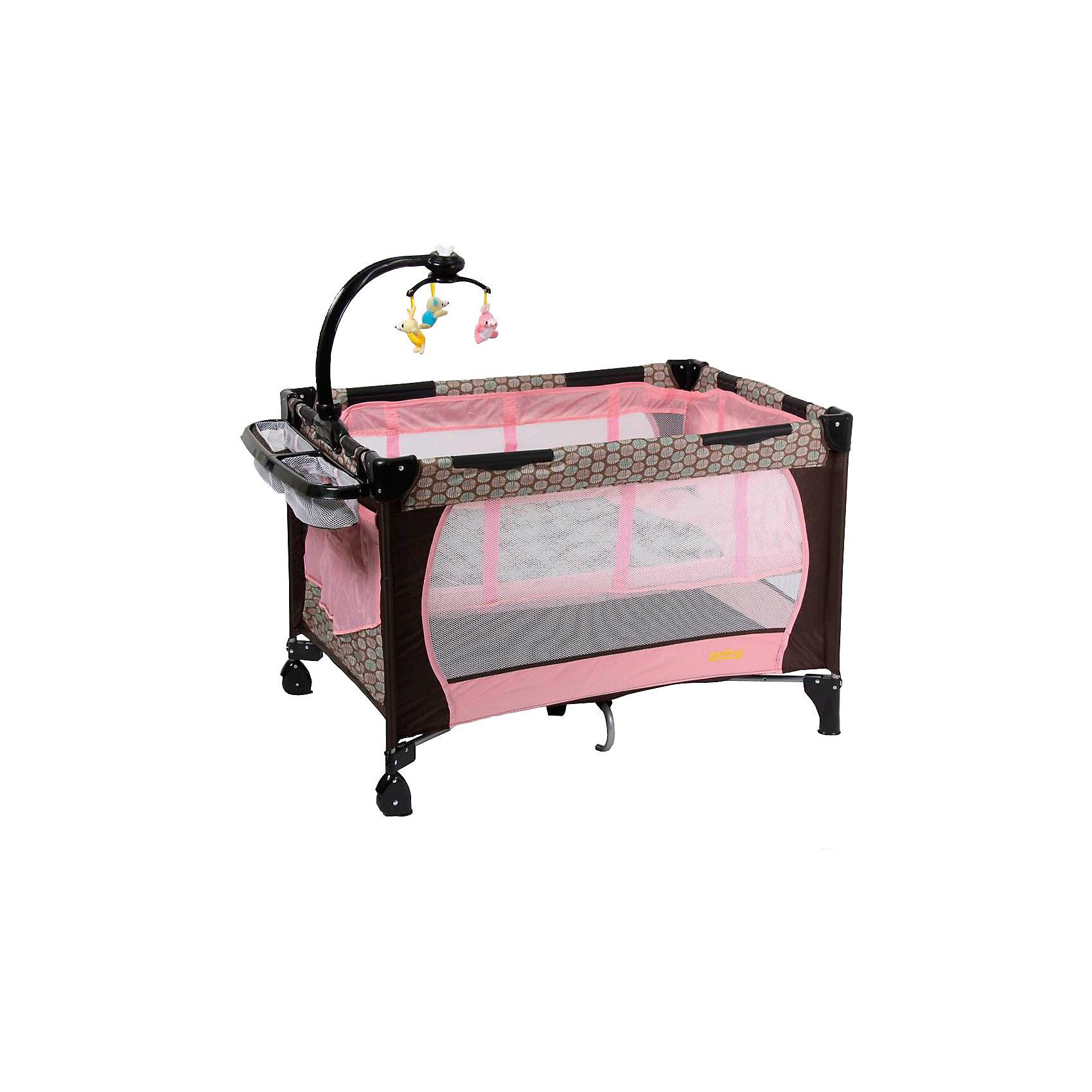 Манеж 212, Selby, розовыйМанежи-кроватки<br>Характеристики товара:<br><br>• возраст с рождения;<br>• материал: пластик;<br>• 2 уровня высоты;<br>• в комплекте: манеж, сумка, мобиль с игрушками, съемный ящик;<br>• размер манежа 110х76х77 см;<br>• 2 колеса<br>• накладки на углах манежа<br>• карман для хранения мелочей<br>• на манже крепится мобиль с игрушками<br>• стенки манежа из сетчатого материала<br>• манже легко складывается<br>• вес упаковки 12,8 кг;<br>• страна производитель: Китай.<br><br>Манеж 212 Selby зеленый — комфортный манеж для игр и отдыха малыша. Для новорожденного используется верхний уровень, а для детей постарше нижний уровень как для отдыха, так и для игр. На манеж крепится мобиль с подвесными игрушками, которые малыш может рассматривать, трогать, хватать, что поспособствует развитию мелкой моторики рук, хватательного рефлекса, зрительного восприятия. <br><br>Стенки манежа выполнены из сетчатого материала, который обеспечивает хороший воздухообмен. 2 колесика облегчают перемещение по квартире. Углы манежа закрыты пластиковыми накладками, чтобы избежать случайных травм. Для хранения игрушек, салфеток, полотенец предусмотрен боковой карман, а также небольшой съемный ящик. <br><br>Конструкция отличается хорошей устойчивостью благодаря дополнительному упору по центру. Манеж можно использовать не только дома, но и брать с собой в поездку или на дачу, так как он легко складывается. Для его транспортировки имеется удобная сумка.<br><br>Манеж 212 Selby зеленый можно приобрести в нашем интернет-магазине.<br><br>Ширина мм: 1100<br>Глубина мм: 760<br>Высота мм: 770<br>Вес г: 12800<br>Возраст от месяцев: 0<br>Возраст до месяцев: 36<br>Пол: Женский<br>Возраст: Детский<br>SKU: 5610148