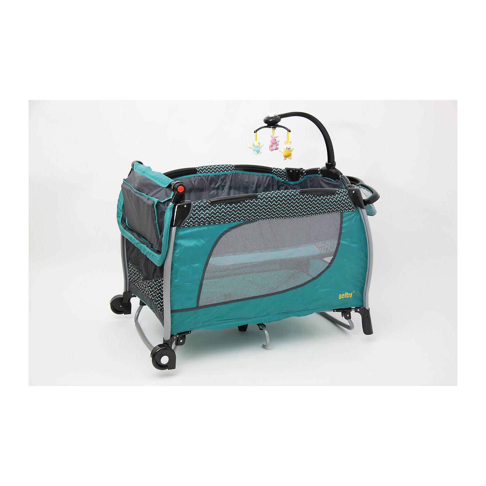 Манеж 213, Selby, бирюзовыйМанежи-кроватки<br>Характеристики товара:<br><br>• возраст с рождения;<br>• материал: пластик;<br>• 2 уровня высоты;<br>• в комплекте: манеж, сумка, мобиль с игрушками, съемный ящик, пеленальный столик;<br>• 2 колеса<br>• безопасные накладки на углах манежа<br>• карман для хранения мелочей<br>• манеж легко складывается<br>• на манеже устанавливается мобиль с игрушками<br>• стенки манежа из сетчатого материала<br>• размер манежа 110х76х77 см;<br>• вес упаковки 16,8 кг;<br>• страна производитель: Китай.<br><br>Манеж 213 Selby голубой сочетает в себе сразу 3 функции: манеж для игр, кроватка и пеленальный столик. Столик крепится на бортики манежа. Чтобы иметь все необходимые вещи под рукой, для мамы имеется удобный съемный органайзер для мелочей. У манежа 2 уровня высоты: для новорожденного используется верхний уровень, а для детей постарше нижний уровень. <br><br>На манеж устанавливается мобиль с подвесными игрушками, которые малыш может рассматривать, трогать, хватать, что поспособствует развитию мелкой моторики рук, хватательного рефлекса, зрительного восприятия. Стенки манежа выполнены из сетчатого материала, который обеспечивает хороший воздухообмен. 2 колесика облегчают перемещение по квартире. Углы манежа закрыты пластиковыми накладками, чтобы избежать случайных травм. <br><br>Конструкция отличается хорошей устойчивостью благодаря дополнительным ножкам по центру. Манеж можно использовать не только дома, но и брать с собой в поездку или на дачу, так как он легко складывается. Для его транспортировки имеется удобная сумка.<br><br>Манеж 213 Selby голубой можно приобрести в нашем интернет-магазине.<br><br>Ширина мм: 1070<br>Глубина мм: 800<br>Высота мм: 770<br>Вес г: 16800<br>Возраст от месяцев: 0<br>Возраст до месяцев: 36<br>Пол: Унисекс<br>Возраст: Детский<br>SKU: 5610149