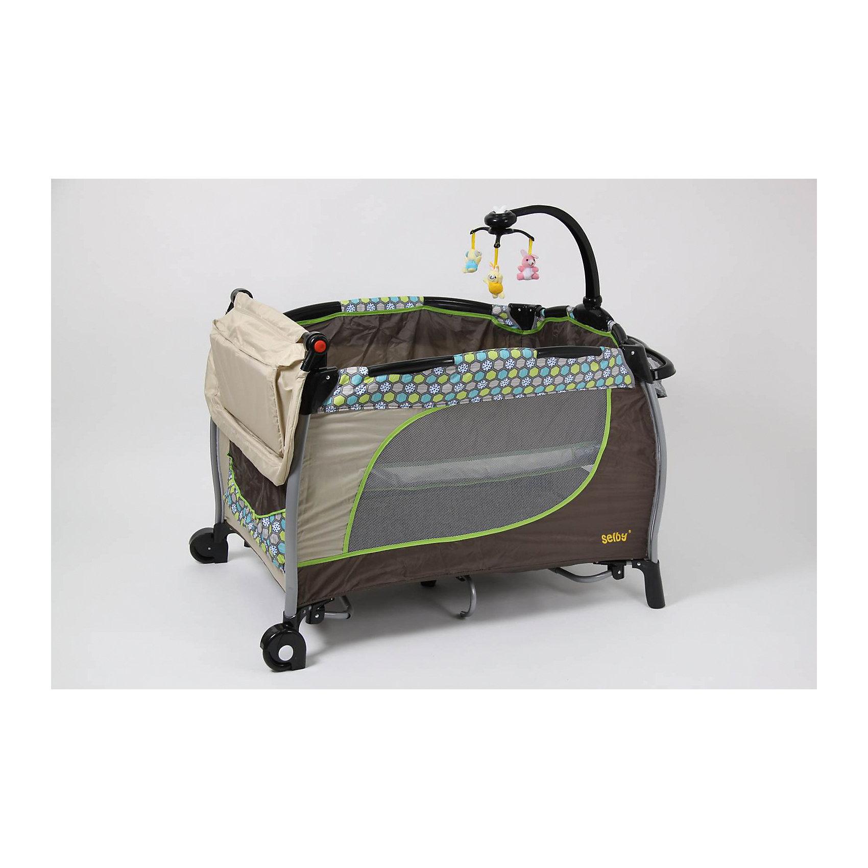 Манеж 213, Selby, бежевыйМанежи-кроватки<br>Характеристики товара:<br><br>• возраст с рождения;<br>• материал: пластик;<br>• 2 уровня высоты;<br>• в комплекте: манеж, сумка, мобиль с игрушками, съемный ящик, пеленальный столик;<br>• 2 колеса<br>• безопасные накладки на углах манежа<br>• карман для хранения мелочей<br>• манеж легко складывается<br>• на манеже устанавливается мобиль с игрушками<br>• стенки манежа из сетчатого материала<br>• размер манежа 110х76х77 см;<br>• вес упаковки 16,8 кг;<br>• страна производитель: Китай.<br><br>Манеж 213 Selby голубой сочетает в себе сразу 3 функции: манеж для игр, кроватка и пеленальный столик. Столик крепится на бортики манежа. Чтобы иметь все необходимые вещи под рукой, для мамы имеется удобный съемный органайзер для мелочей. У манежа 2 уровня высоты: для новорожденного используется верхний уровень, а для детей постарше нижний уровень. <br><br>На манеж устанавливается мобиль с подвесными игрушками, которые малыш может рассматривать, трогать, хватать, что поспособствует развитию мелкой моторики рук, хватательного рефлекса, зрительного восприятия. Стенки манежа выполнены из сетчатого материала, который обеспечивает хороший воздухообмен. 2 колесика облегчают перемещение по квартире. Углы манежа закрыты пластиковыми накладками, чтобы избежать случайных травм. <br><br>Конструкция отличается хорошей устойчивостью благодаря дополнительным ножкам по центру. Манеж можно использовать не только дома, но и брать с собой в поездку или на дачу, так как он легко складывается. Для его транспортировки имеется удобная сумка.<br><br>Манеж 213 Selby голубой можно приобрести в нашем интернет-магазине.<br><br>Ширина мм: 1070<br>Глубина мм: 800<br>Высота мм: 770<br>Вес г: 16800<br>Возраст от месяцев: 0<br>Возраст до месяцев: 36<br>Пол: Унисекс<br>Возраст: Детский<br>SKU: 5610150