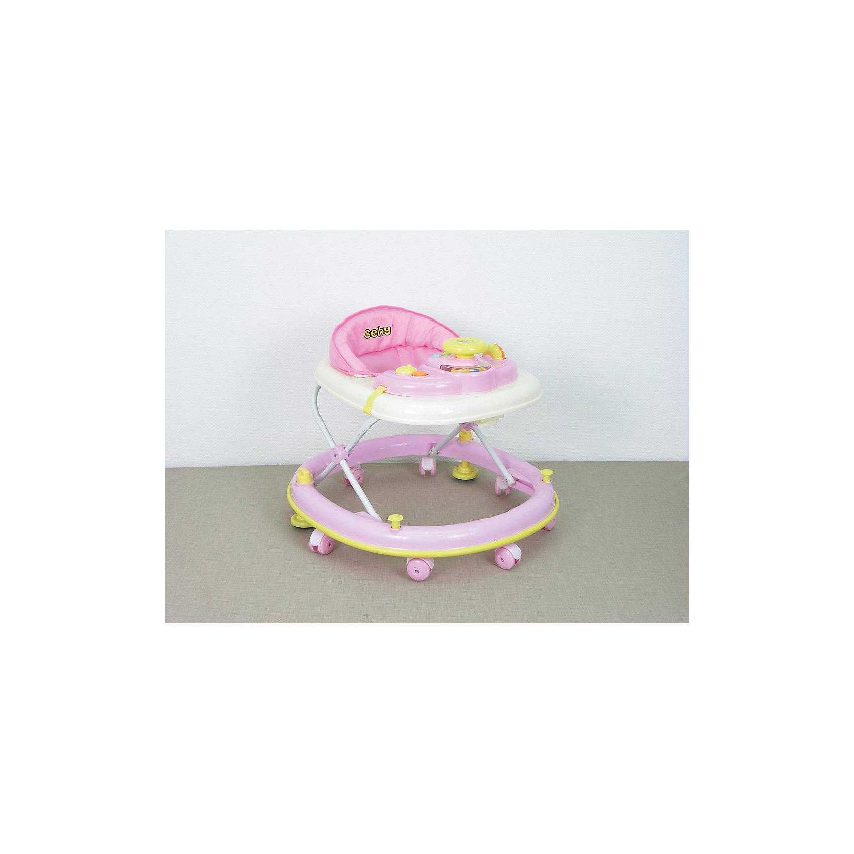 Ходунки BS-300, Selby, розовыйХодунки<br>регулировка высоты сидения, - музыкальная игровая панель, - мягкое сидение, - стопоры - съемный чехол кресла, - эргономичный дизайн, - безопасная конструкция<br><br>Ширина мм: 710<br>Глубина мм: 660<br>Высота мм: 660<br>Вес г: 3900<br>Возраст от месяцев: 6<br>Возраст до месяцев: 12<br>Пол: Унисекс<br>Возраст: Детский<br>SKU: 5610170
