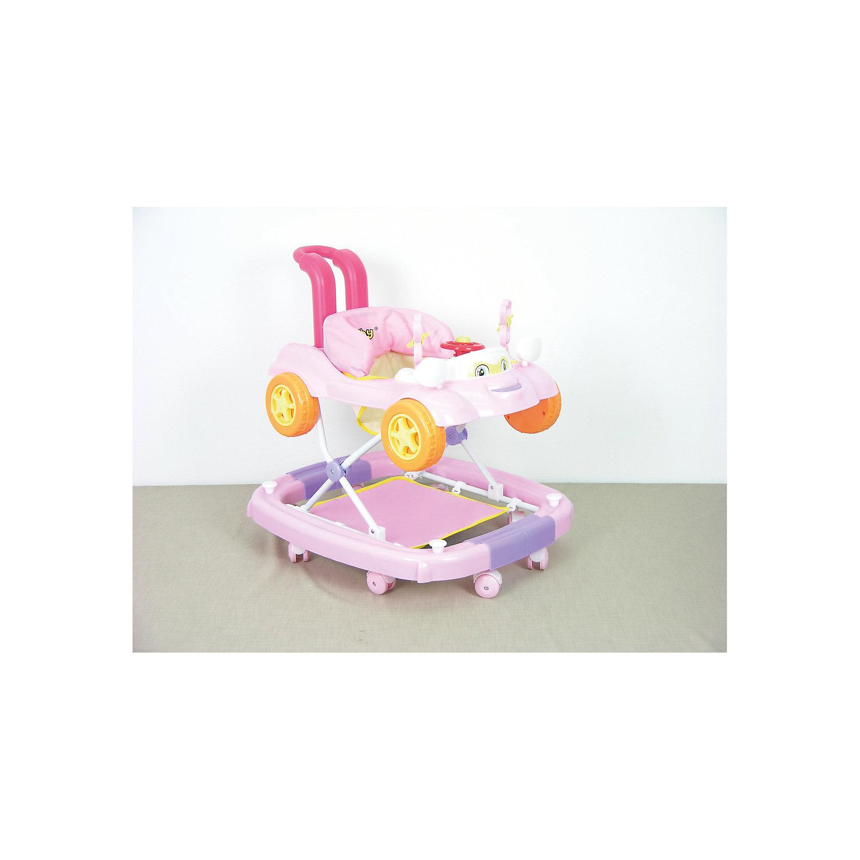 Ходунки BS-411, Selby, розовыйХодунки<br>Регулировка высоты сидения, - музыкальная игровая панель, - мягкое сидение, - подставка для ног, - съемный чехол кресла, - уникальный дизайн, - режим качания при повороте колесной панели, - съемная машинка-каталка, - безопасная конструкция<br><br>Ширина мм: 710<br>Глубина мм: 640<br>Высота мм: 660<br>Вес г: 5800<br>Возраст от месяцев: 6<br>Возраст до месяцев: 12<br>Пол: Унисекс<br>Возраст: Детский<br>SKU: 5610173
